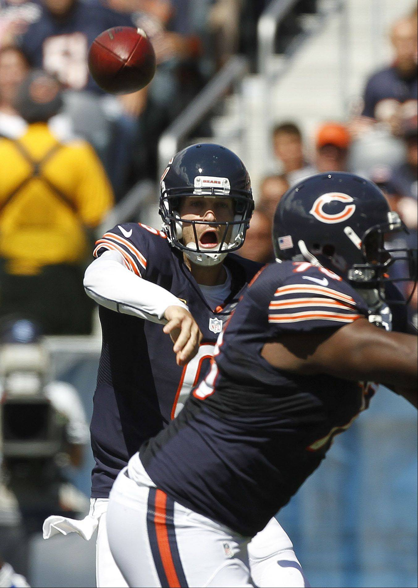 Chicago Bears quarterback Jay Cutler throws during the Bears season opener.