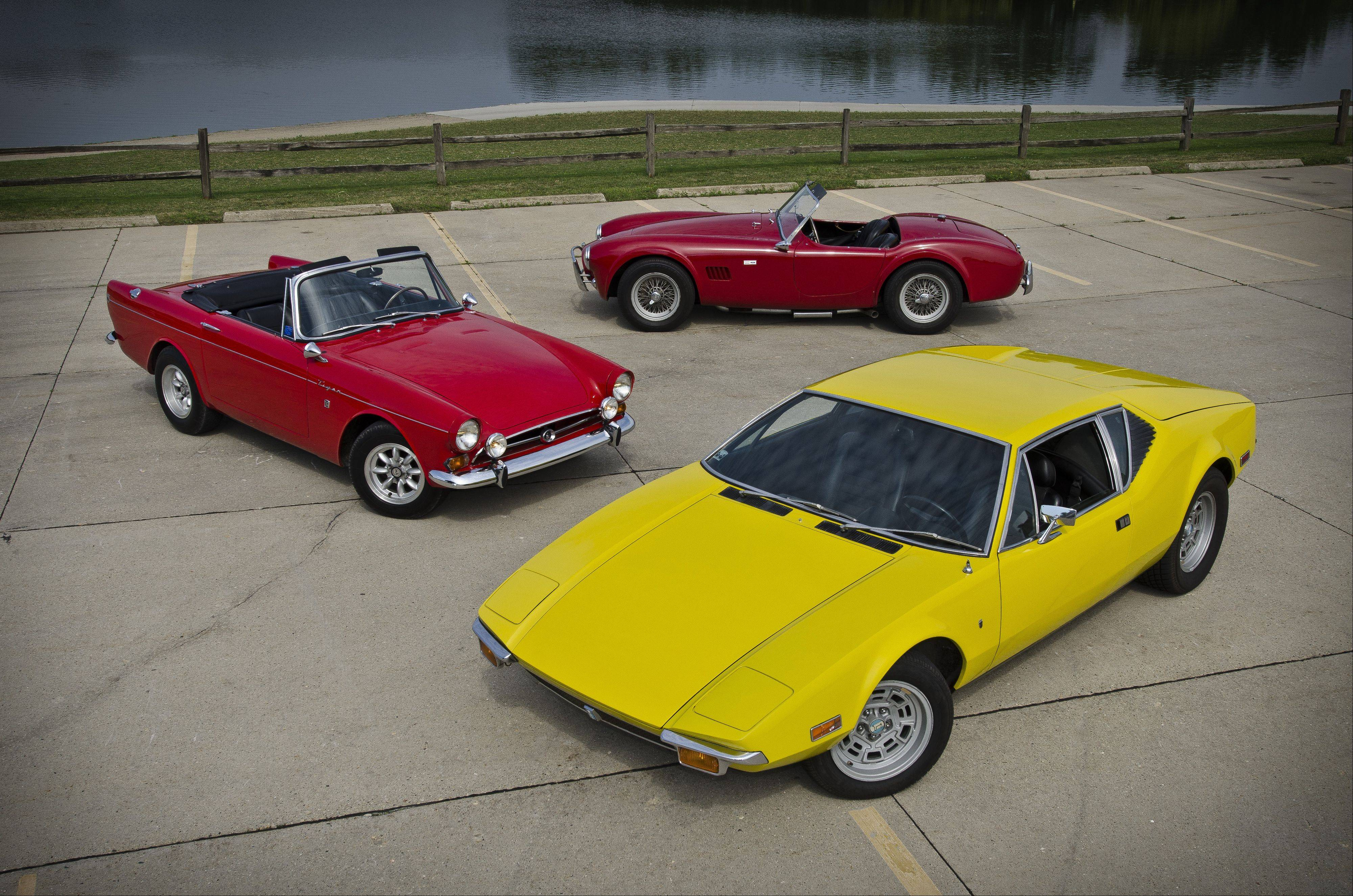 These models built at the end of the muscle-car era combine European styling and American-made brawn. Clockwise, from left, a 1966 Sunbeam Tiger MK1A, the 1965 Shelby Cobra and 1972 De Tomaso Pantera.