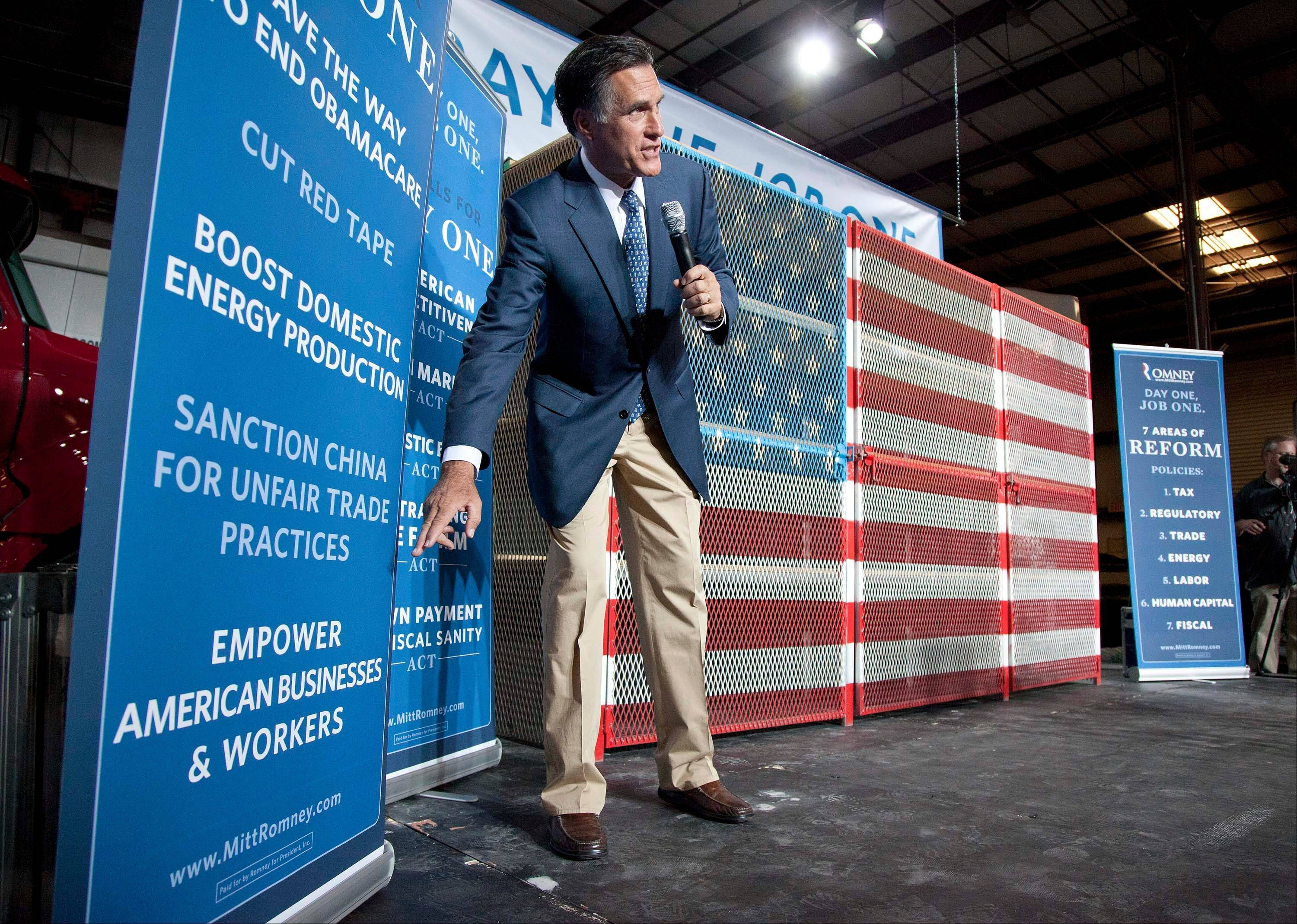 Republican presidential candidate Gov. Mitt Romney talks about his plan for creating jobs and improving the economy at a campaign stop in Las Vegas last week.