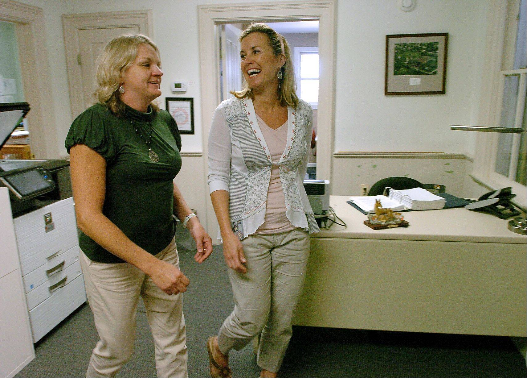 Janet VanZant of Deer Park and Beth McAndrews of Barrington share a laugh while employed at the Village of Deer Park. They found their jobs with the help of CareerPlace in Barrington.