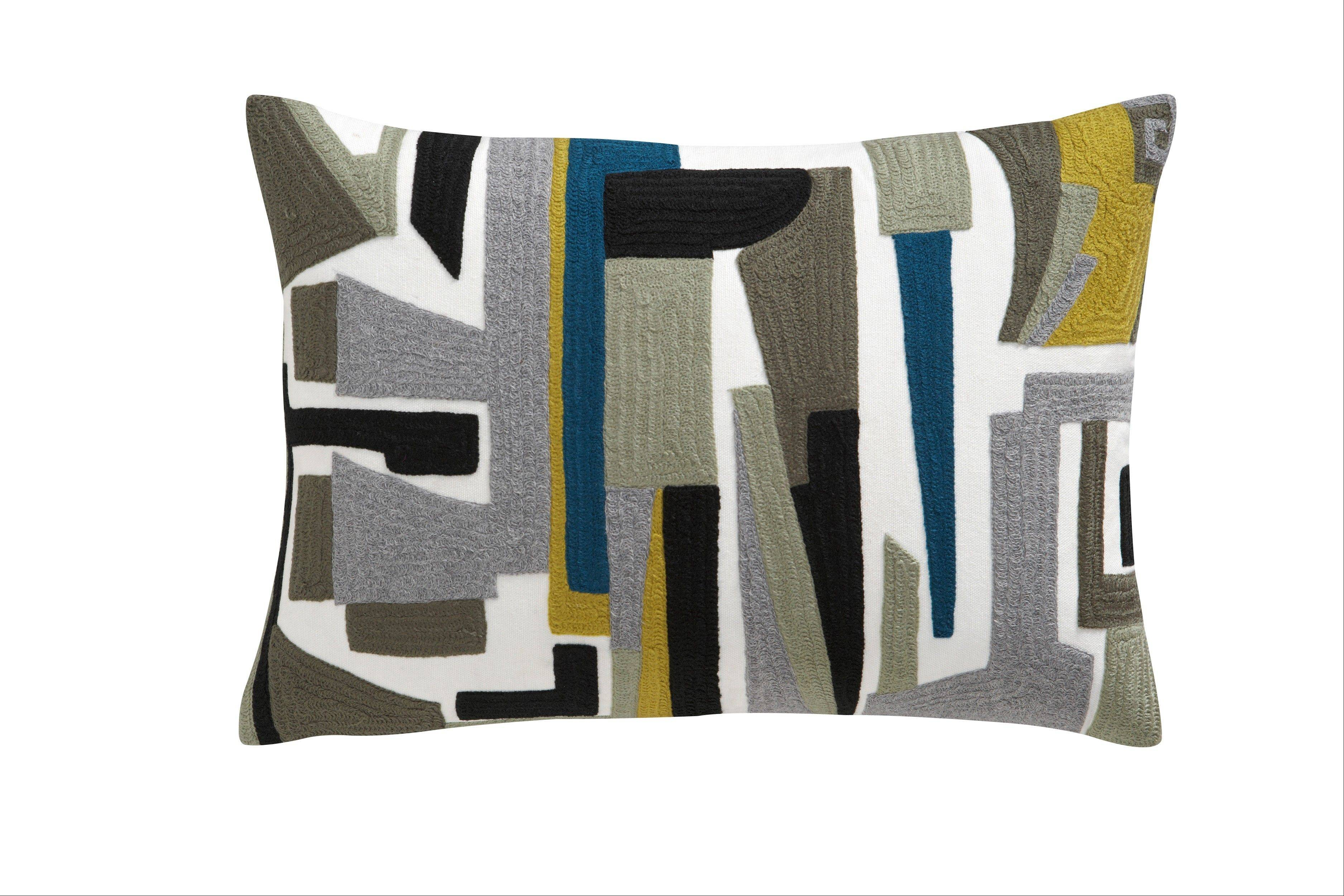 A Shift pillow shows a pop of contemporary pattern and color.