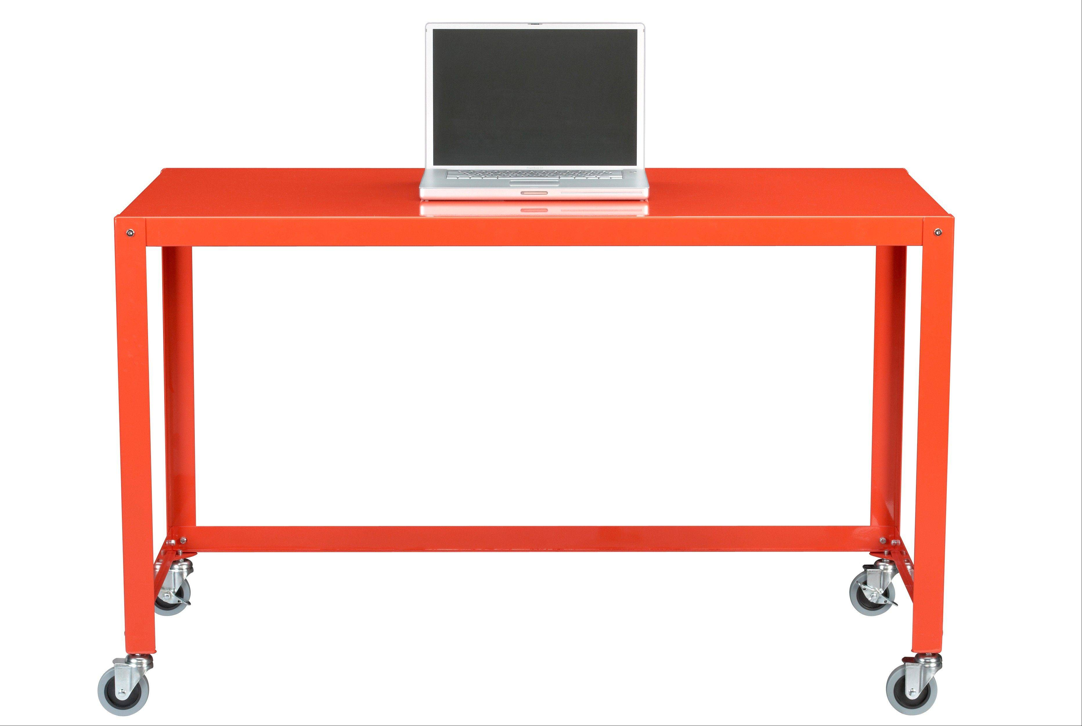 A Go-cart desk shown in a punchy orange, is a sleek, contemporary twist on industrial style, which remains a top trend for this season. It is available also in grey or chartreuse.