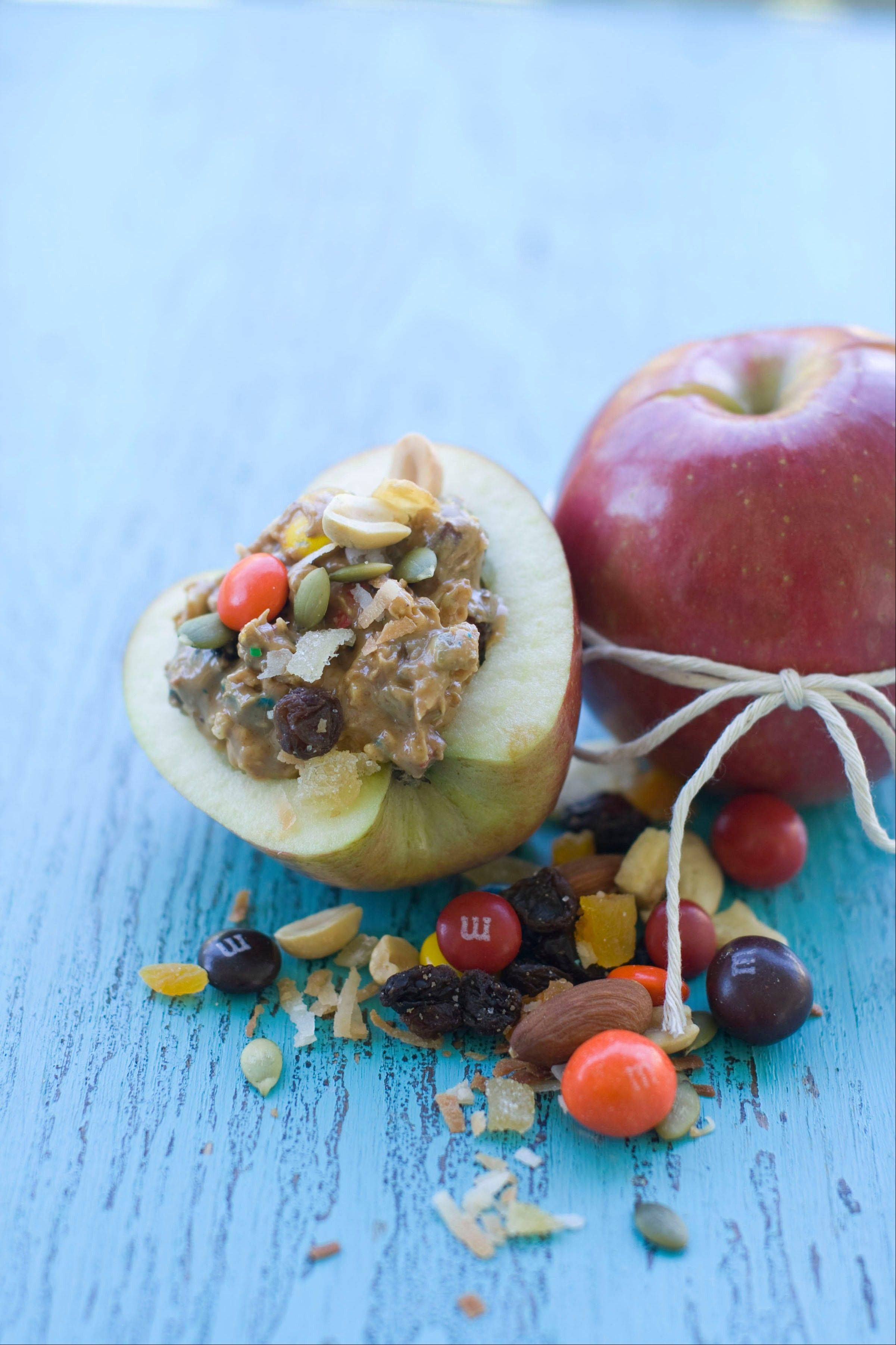 Gorp-stuffed apples make a nice treat for children and adults.