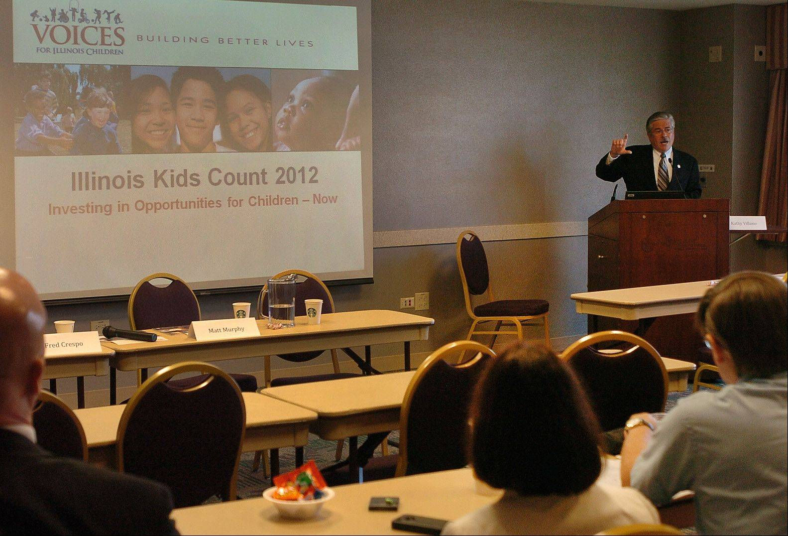 State Rep. Fred Crespo of Hoffman Estates takes part in a panel discussion during the Voices for Illinois Children's Illinois Kids Count Symposium at St. Alexius Medical Center in Hoffman Estates.