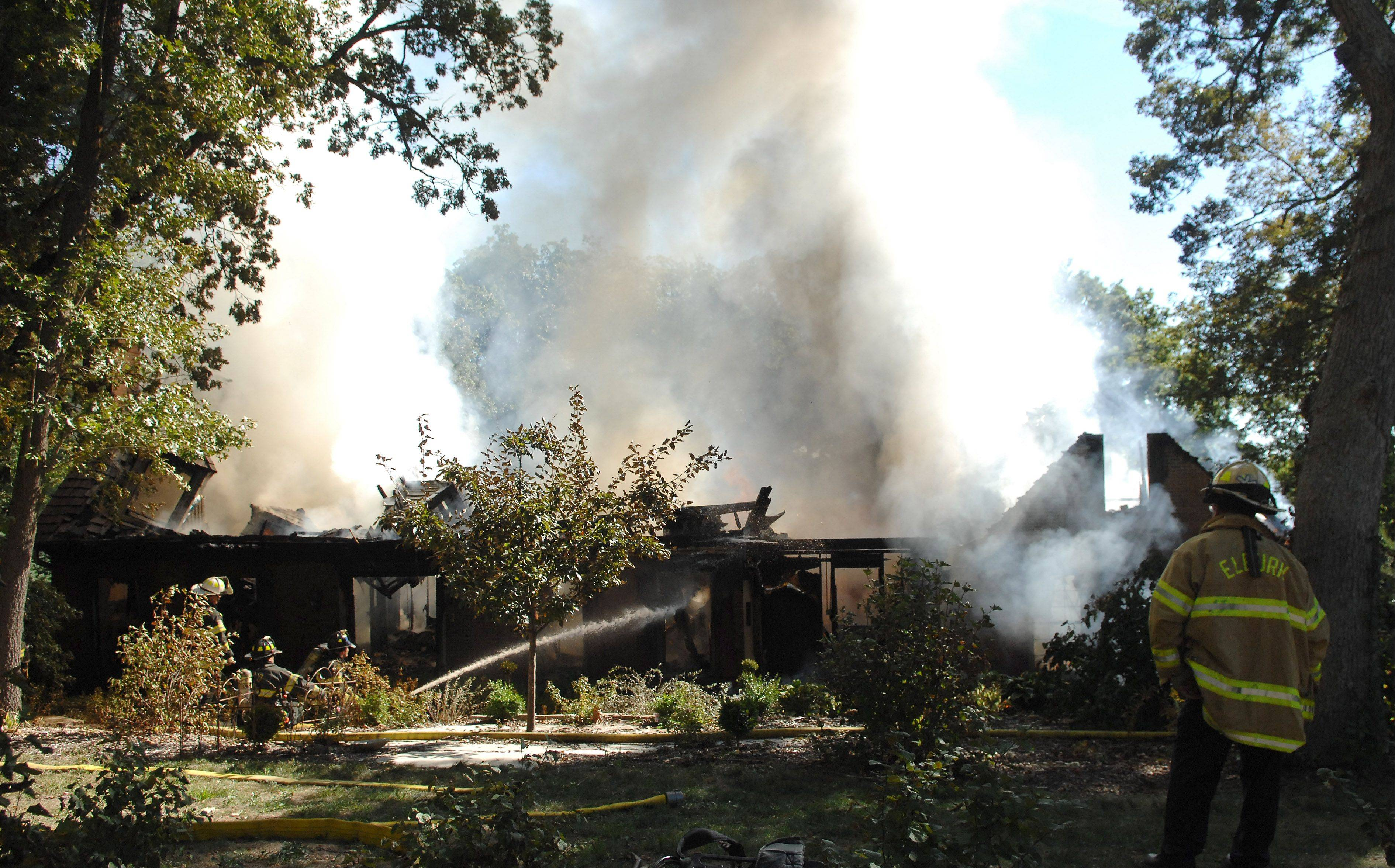 A house fire Monday morning on Spring Wood Lane in Campton Hills destroyed the home. A couple was home at the time of the fire and escaped.