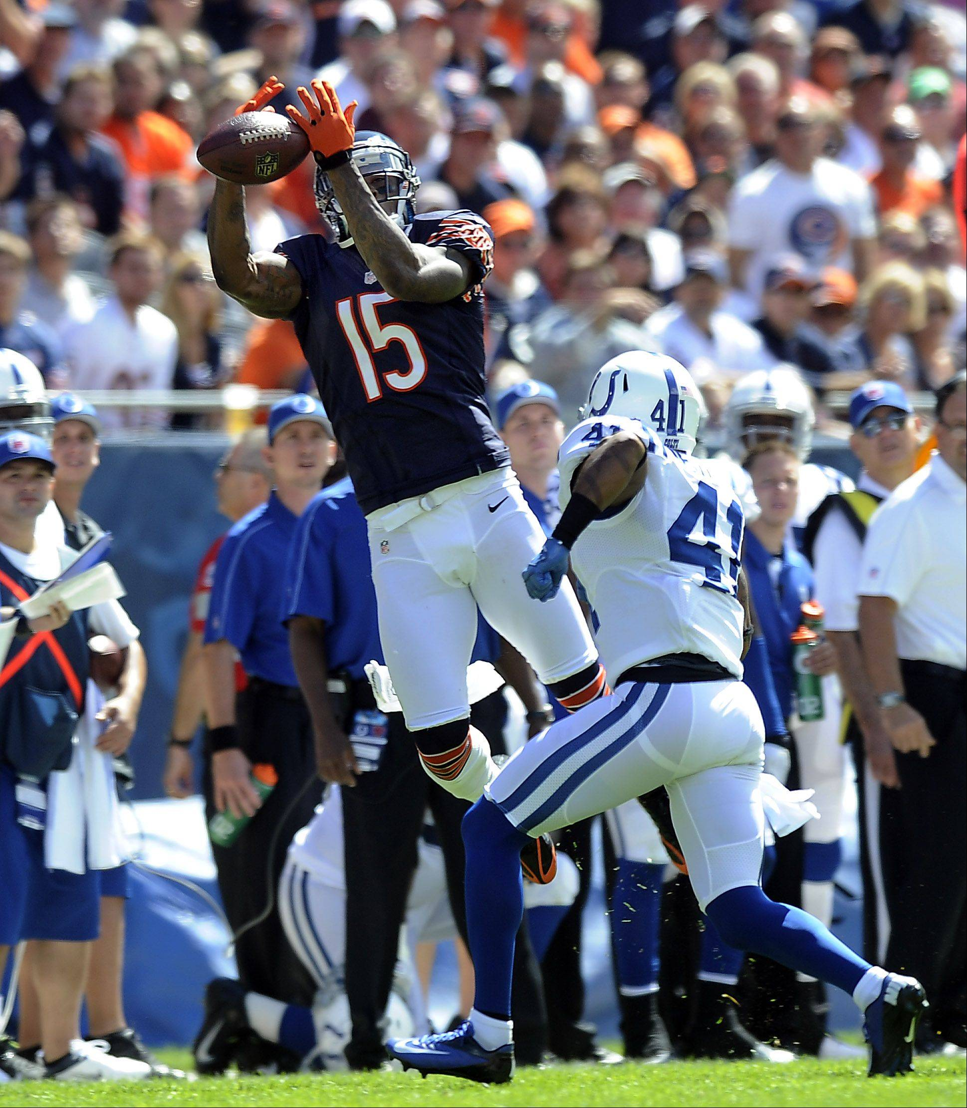 Chicago Bears Brandon Marshall lets this first quarter pass slips through his fingers during the Bears home opener at Soldier Field in Chicago.