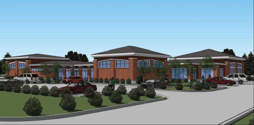Rendering of a proposed new Island Lake Village Hall building.