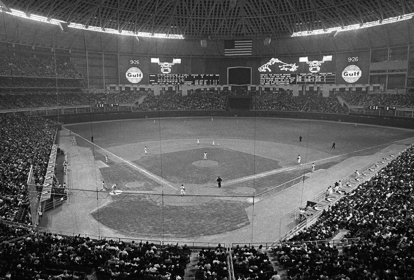 The Houston Astrodome is seen as the Astros host the New York Yankees in this April 10, 1965 photo. The Astros played their first game in the Astrodome April 9, 1965.