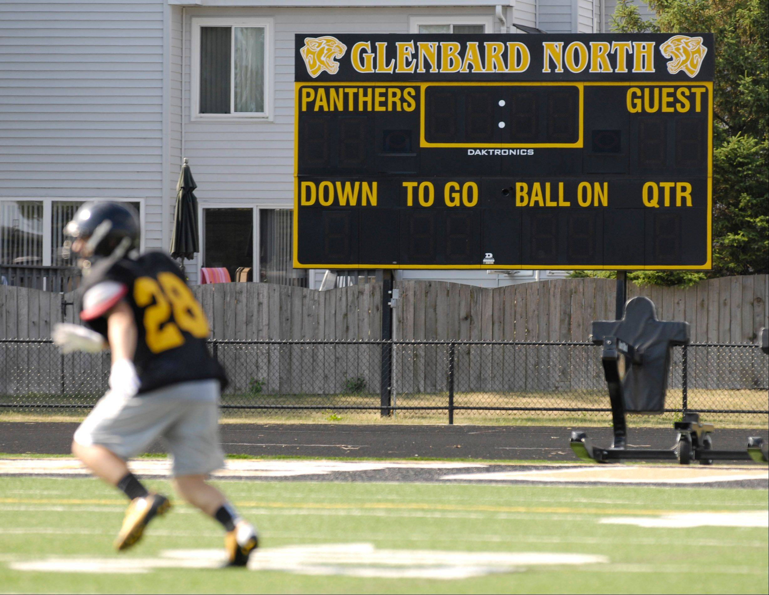 LED advertising panels will be attached to eight existing scoreboards at Glenbard High School District 87 athletic facilities, including the football scoreboard at Glenbard North in Carol Stream.
