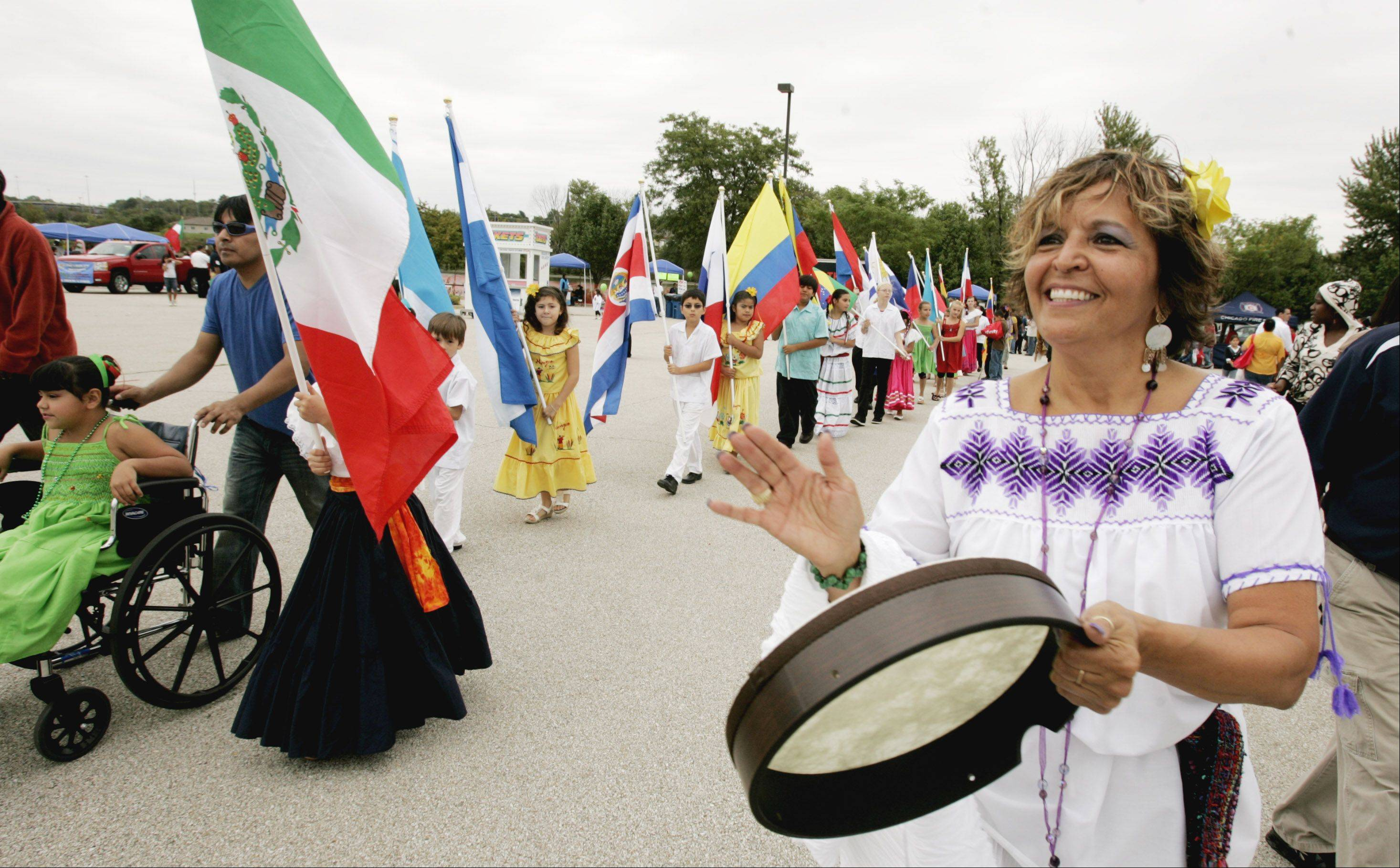 Delia Nila Basile sets the beat for the Parade of Nations at the first Fiestas Patrias in Aurora in 2010. This year's festival will take place Sept. 14 to 16 at North River Street Park with the Parade of Nations at 1:30 p.m. Saturday, Sept. 15.