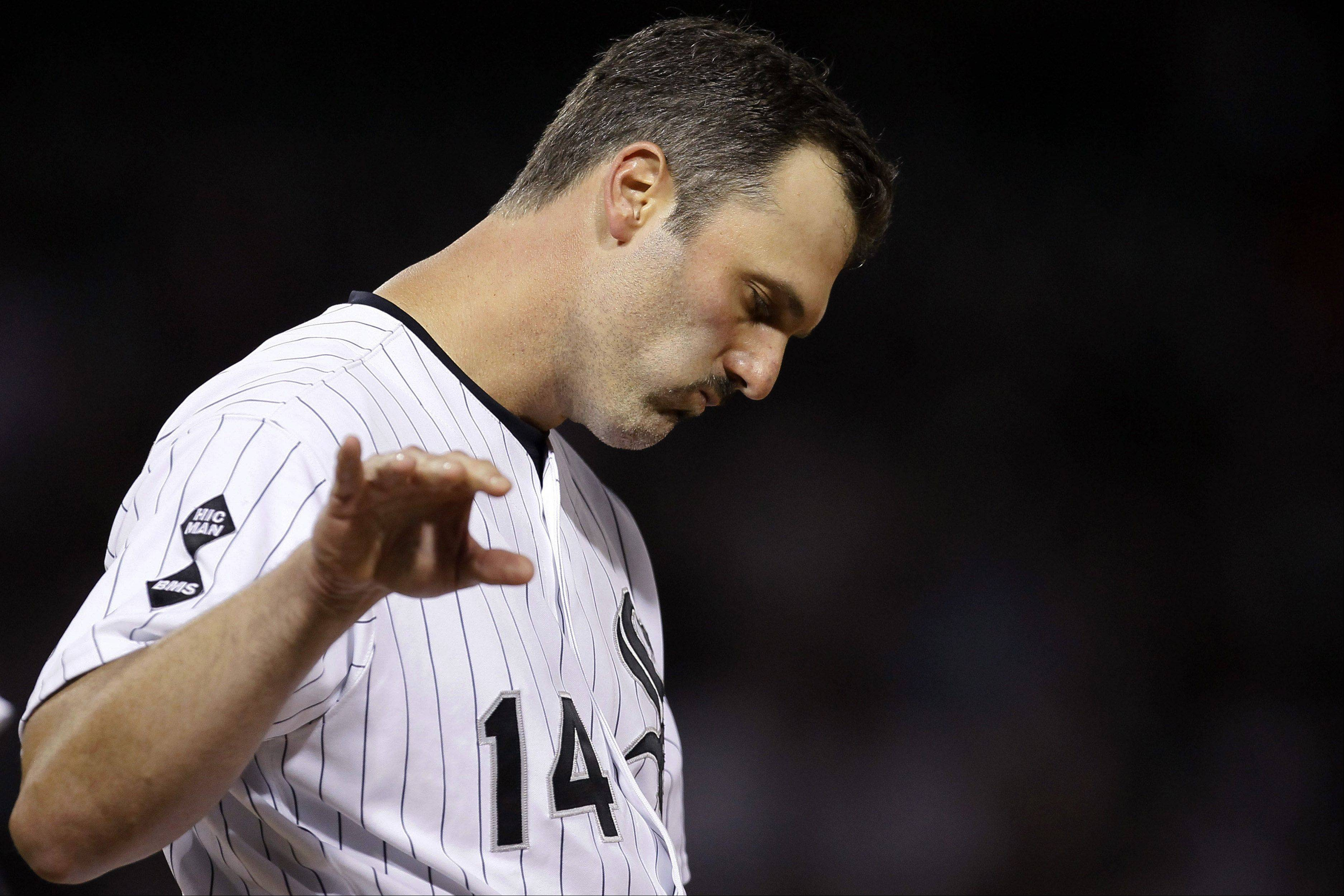 White Sox first baseman Paul Konerko reacts Tuesday after grounding out on a pitch by the Detroit Tigers' Joaquin Benoit to end the eighth inning at U.S. Cellular Field.