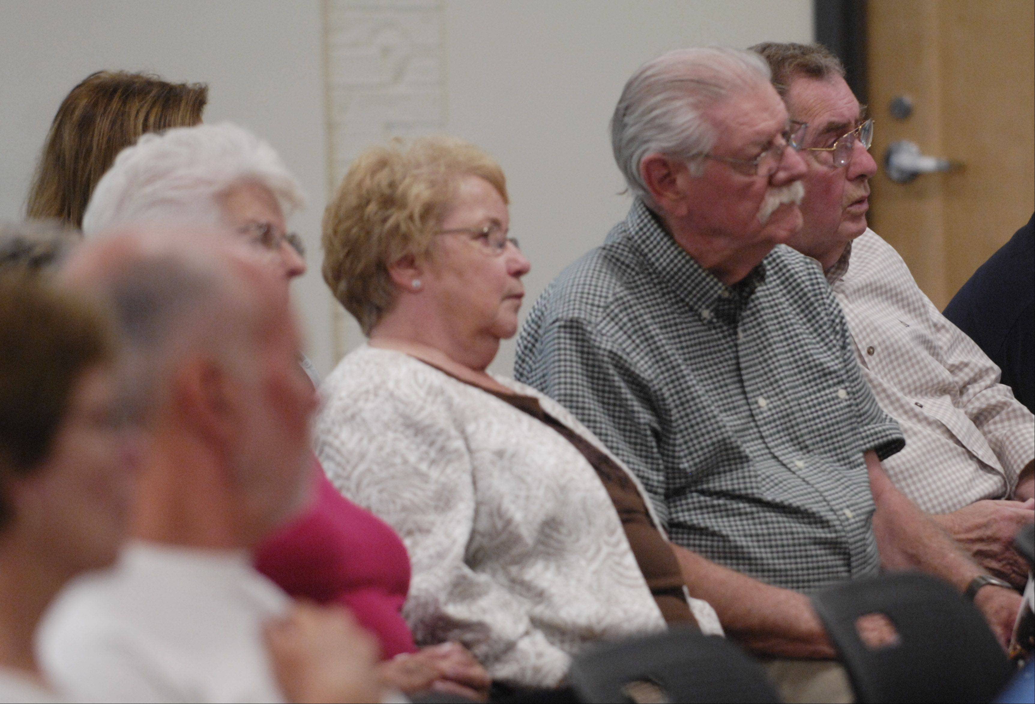 Audience members listen to speakers during the Hoffman Estates annual September 11th Ceremony of Remembrance at the Village Hall Tuesday.