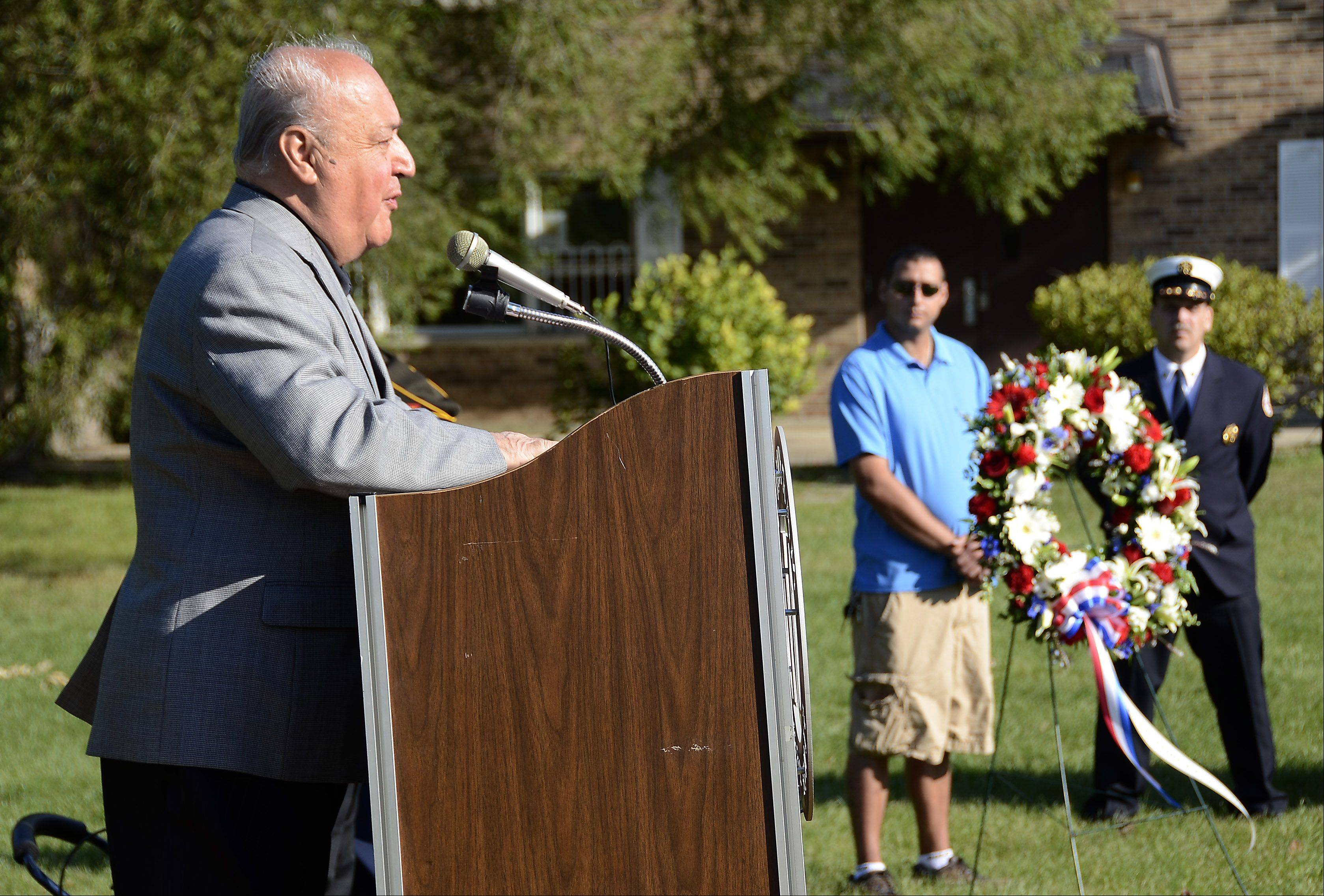 Former Des Plaines Mayor Tony Arredia speaks during a 9/11 Patriot Day celebration at Maryville Academy in Des Plaines.