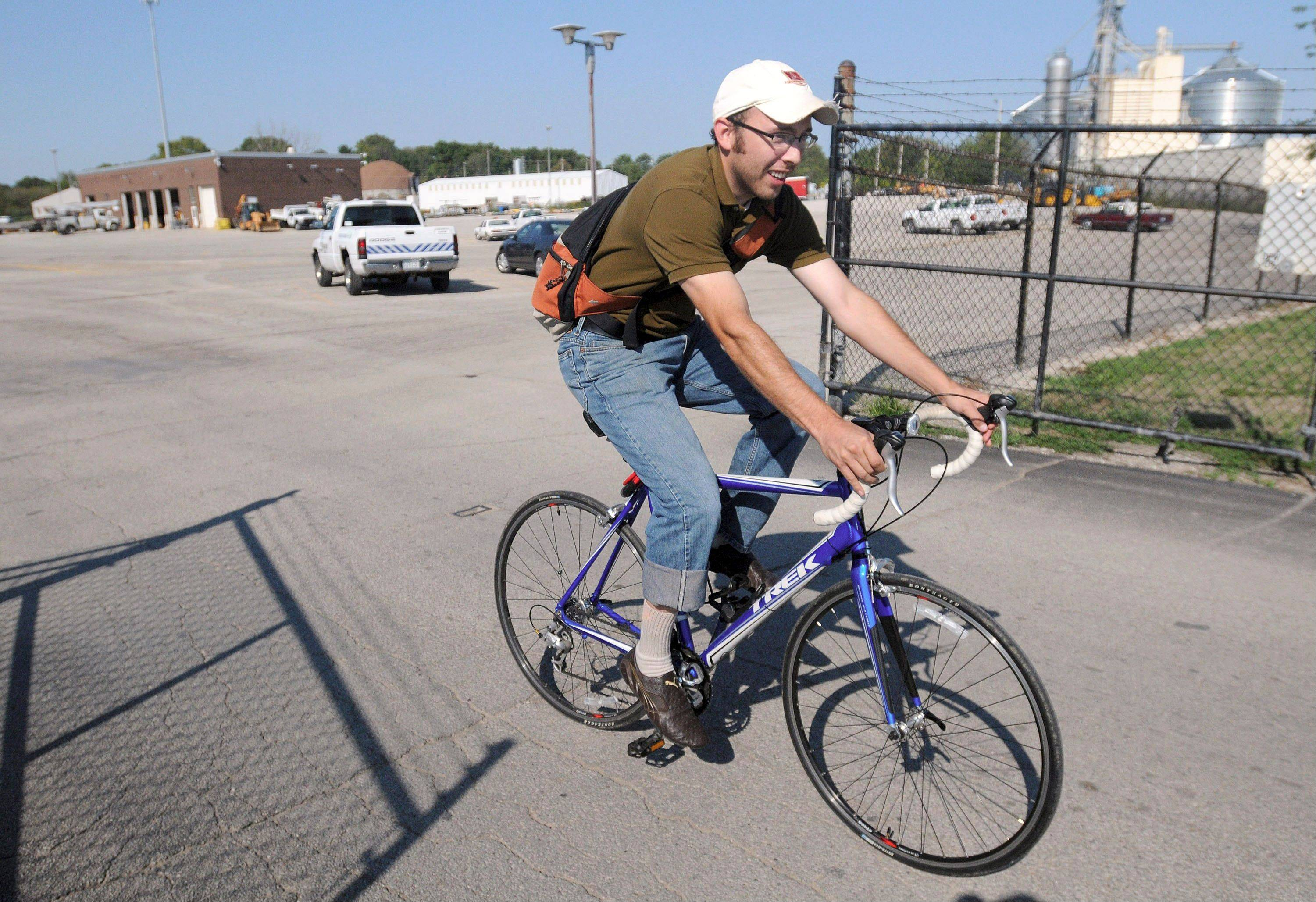 Mitch Lankford, an engineer with the city of Danville, rides his bike. The city is doing an inventory of sidewalks and bicycle facilities for the city's MOVE Danville initiative, which is an effort by the city to make Danville more bicycle and pedestrian friendly.