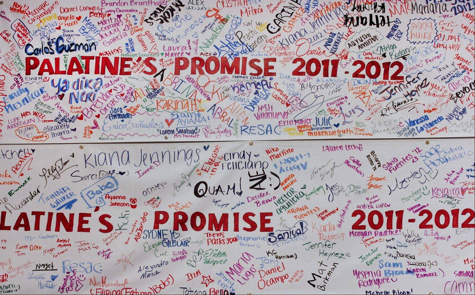 "The Promise program is in its fifth year at Palatine High School. A committee of teachers and hundreds of students plan and run monthly programs about bullying across a range of topics, with sporadic ""palooza"" festivals. The program started in response to a bullying survey that shocked educators and encouraged a passion to change the school environment."