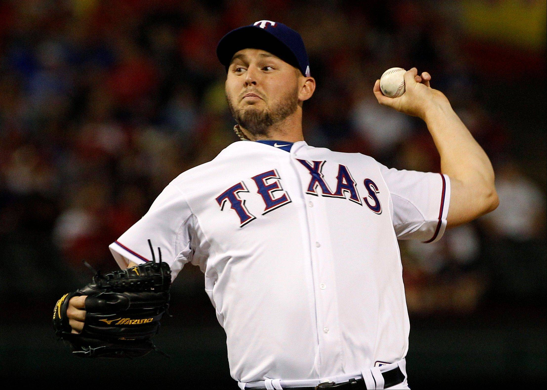 Texas Rangers starting pitcher Matt Harrison didn't allow a runner until the fourth and struck out six Tuesday in a home win over Cleveland.