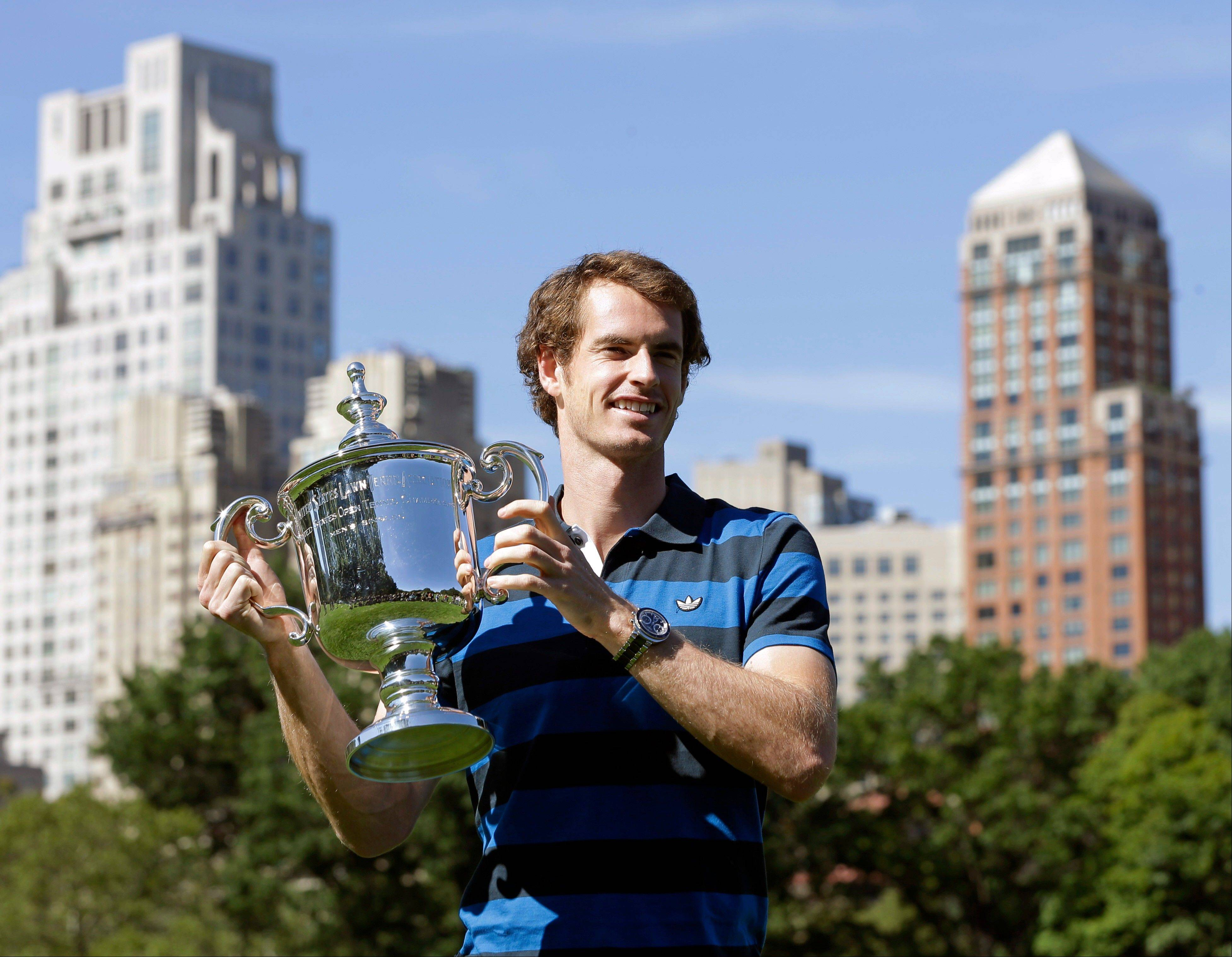 2012 U.S. Open tennis men's singles champion Andy Murray poses Tuesday in Central Park.