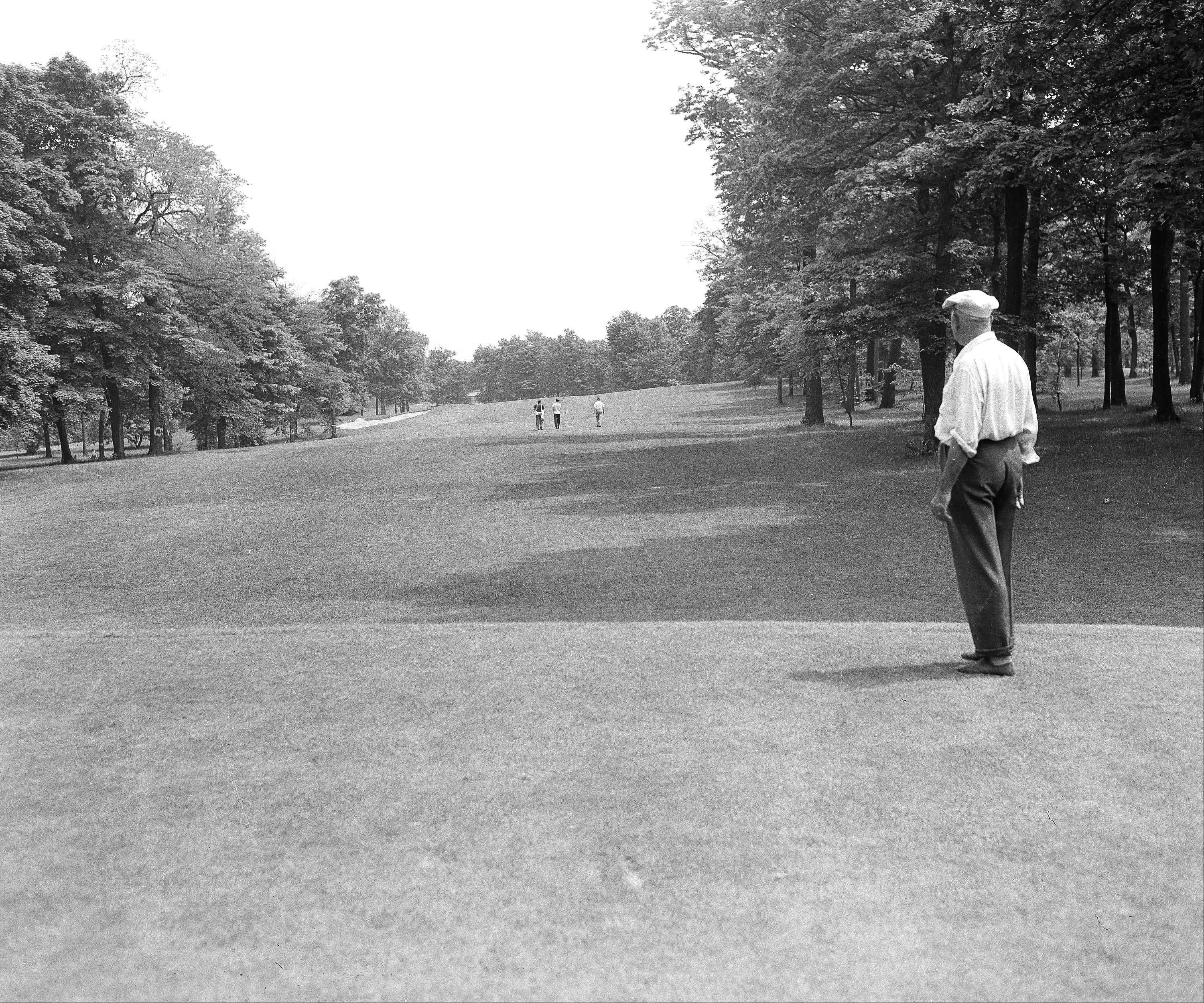 This is the No. 1 tee of the Medinah County Club, Illinois on June 3, 1949, where the National Open Golf Championship Match will be held on June 9, 10 and 11. There are few, if any, easy holes over the course. The green is beyond the sand-trap in the distance. Par for the course, years ago is the best tournament total for the course.