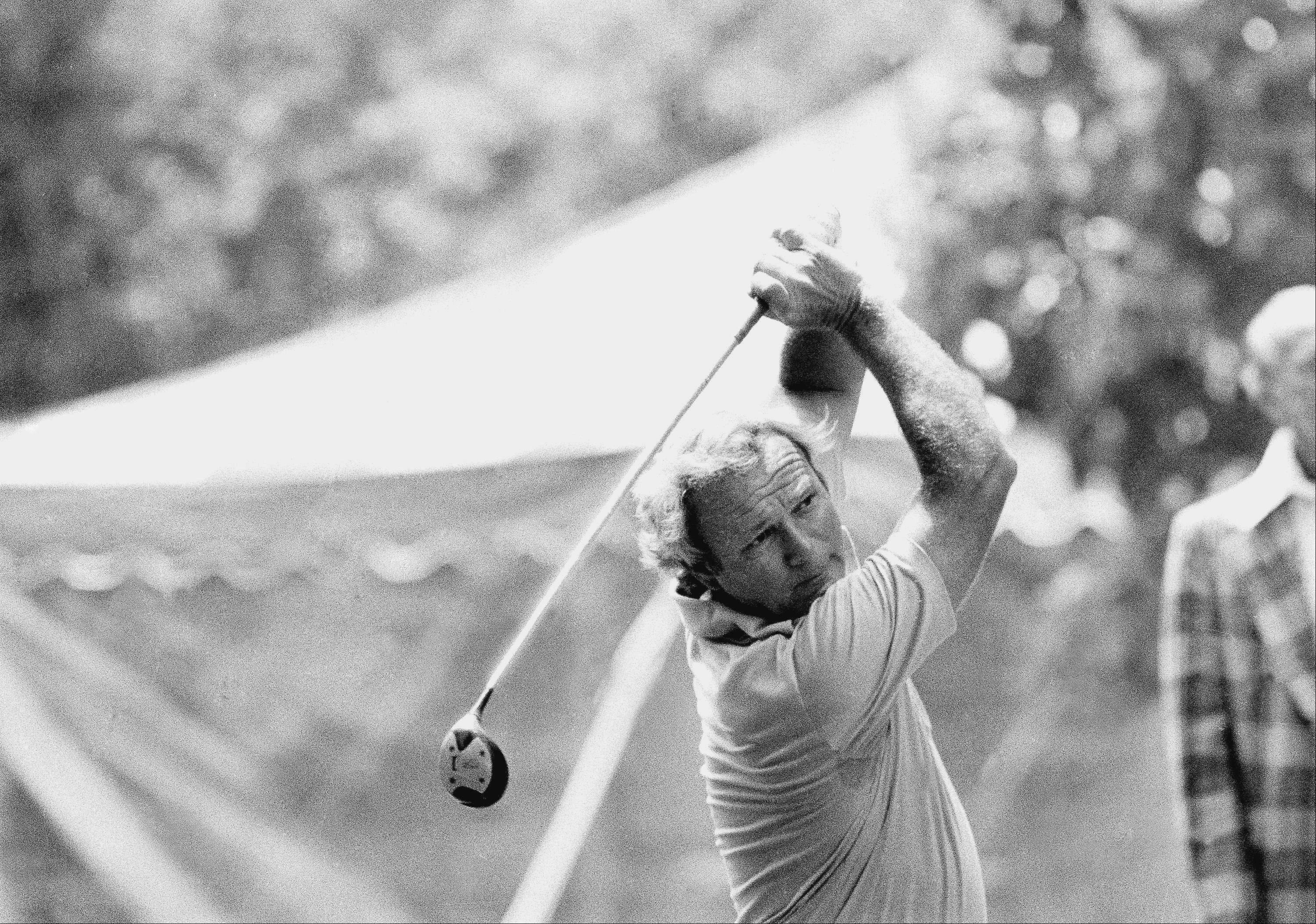 Veteran golfer Arnold Palmer follows his tee shot during a practice round for the U.S. Open in Medinah Country Club, Wednesday, June 12, 1975, Medinah, Ill. Nicklaus will compete at Medinah in the U.S. Open which begins next week.