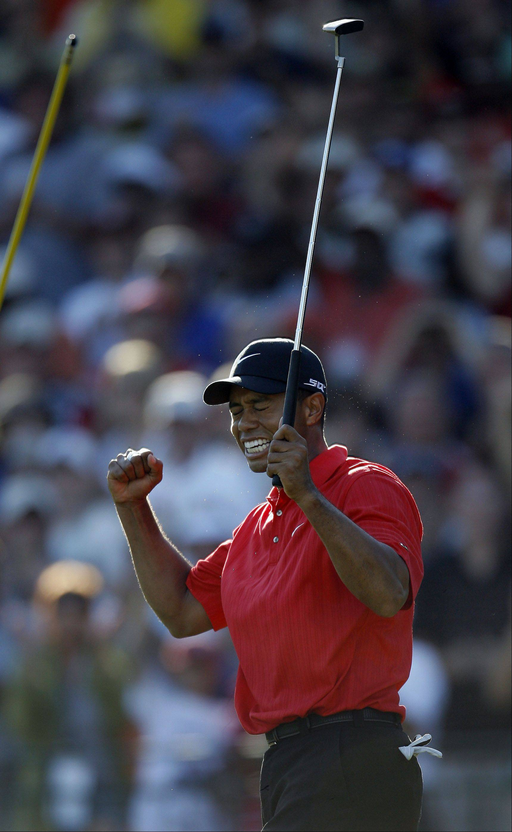 Round four of the 88th PGA Championship Sunday, August 20, 2006 at Medinah Country Club in Medinah. Tiger Woods reacts after sinking his last putt on 18 to win.