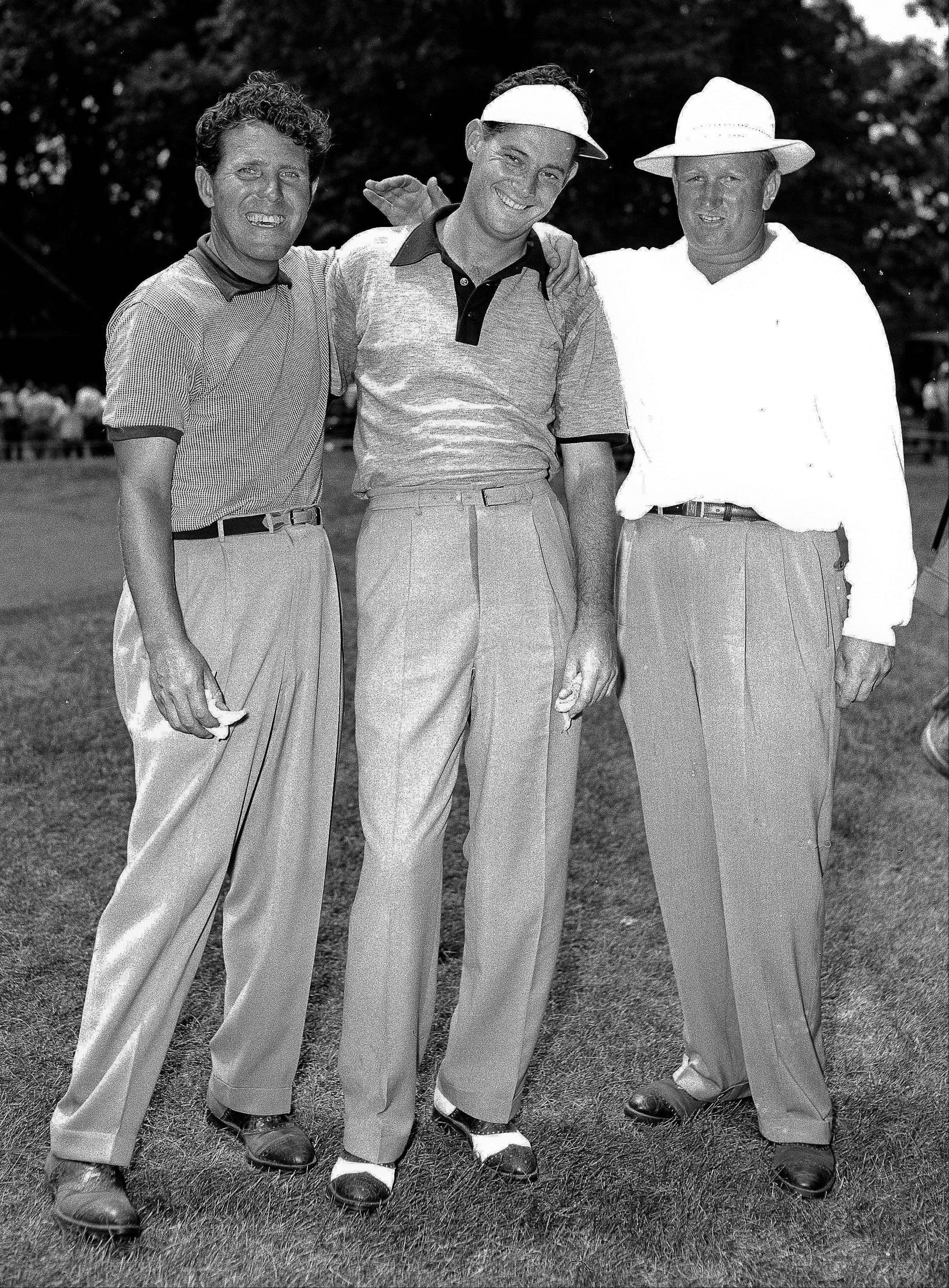 Cary Middlecoff, center, Memphis, Tenn., and Clayton Heafner, right, Charlotte, N.C., were tied up going down the final nine holes of the National Open golf tournament at Chicago�s Medinah Country Club, Illinois on June 11, 1949. O�Neal (Buck) White, left, Greenwood, Miss., was only two strokes behind leaders� pace at the 63rd hole.