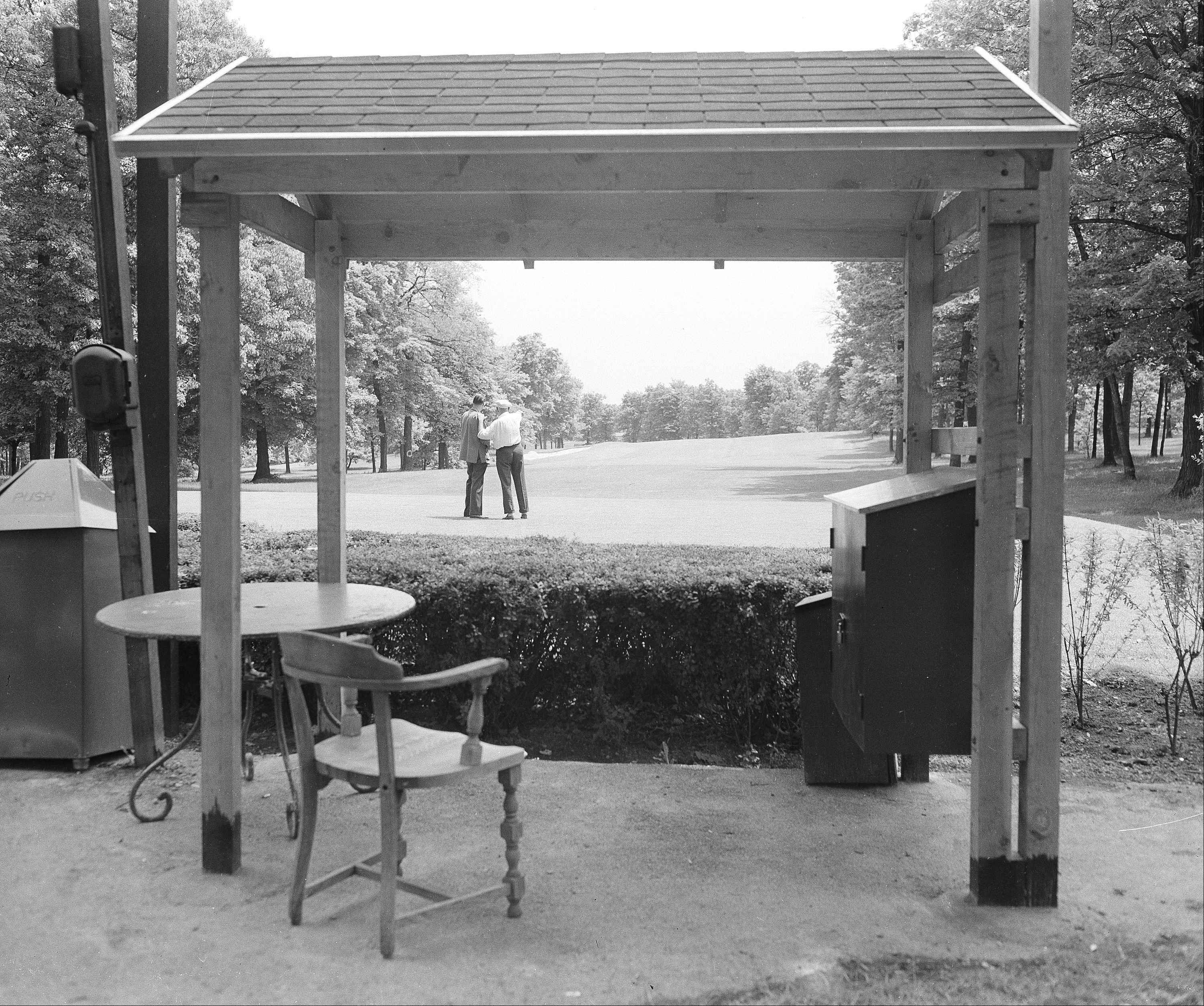 This is the No. 1 tee of the Medinah County Club, Illinois on June 3, 1949, where the National Open Golf Championship Match will be held on June 9, 10 and 11. There are few, if any, easy holes over the course. The green is beyond the sand-trap in the distance.