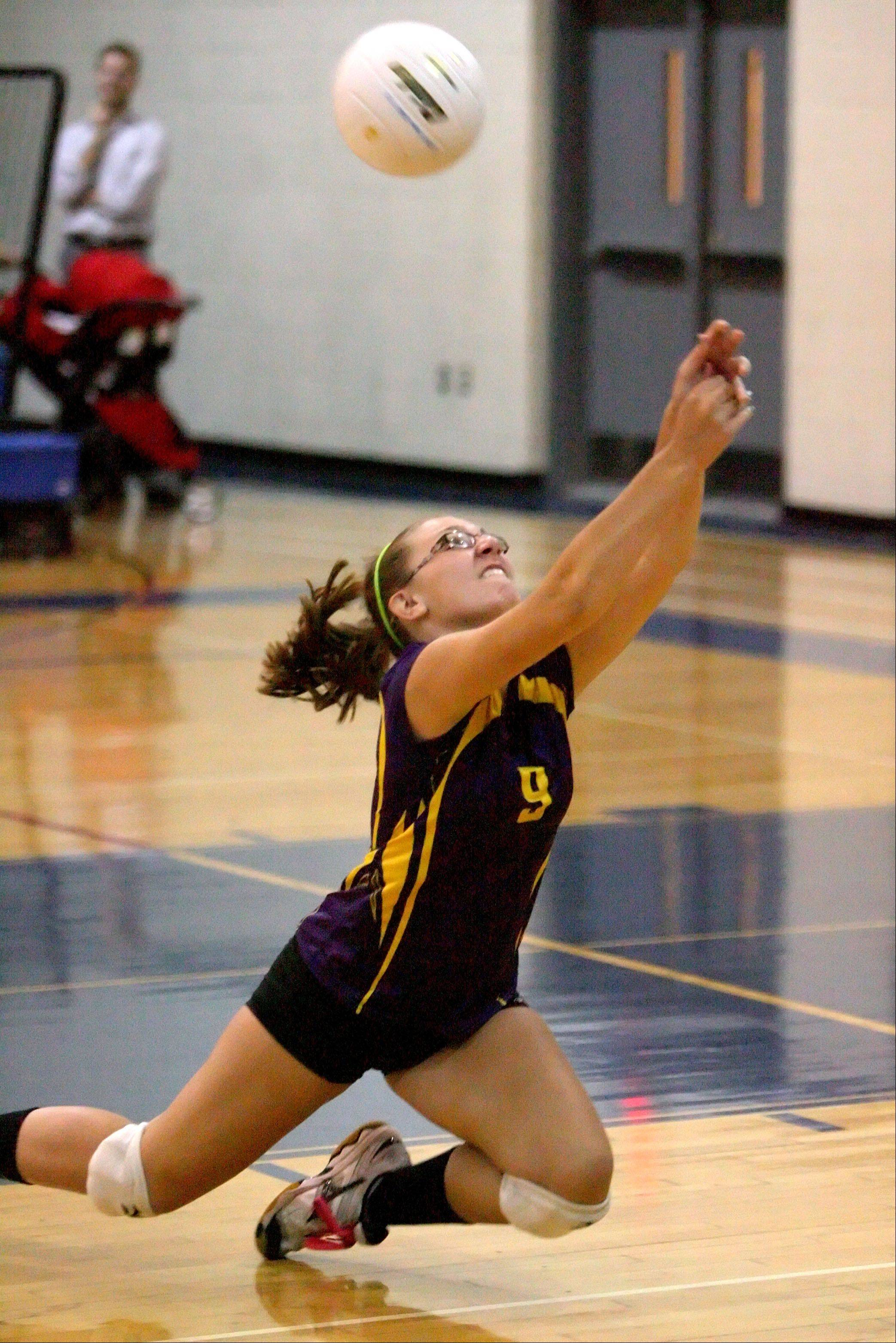 Wauconda's Steph Schaer makes a diving attempt at the ball during their game Tuesday night at Lakes High School.