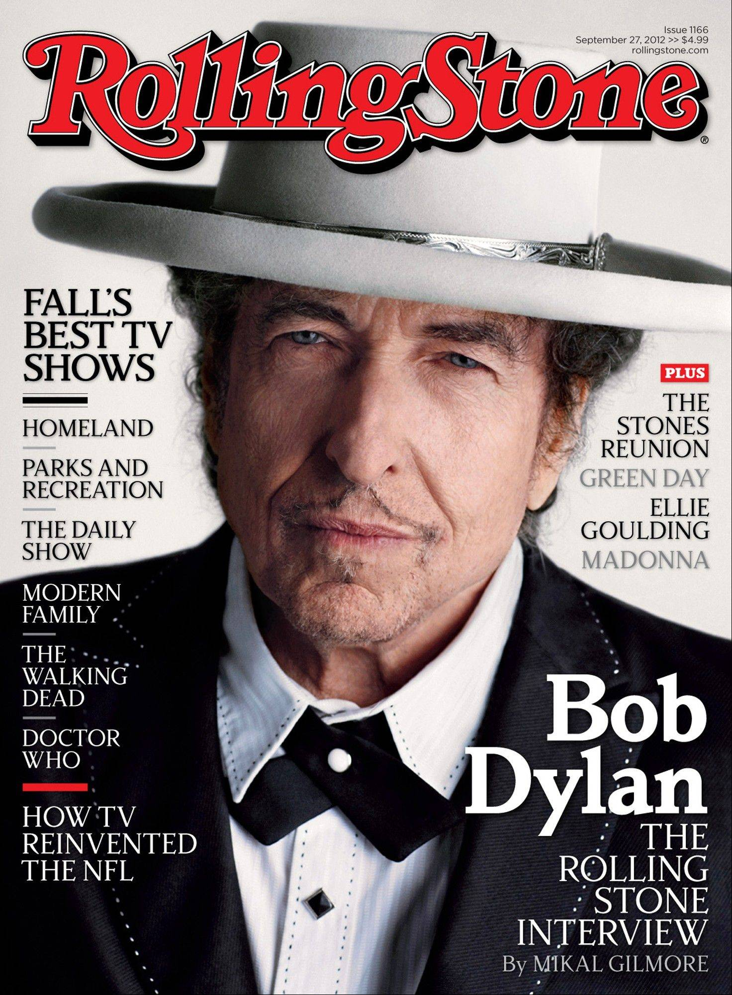 "Bob Dylan appears on the cover of the October 2012 issue of Rolling Stone, promoting his new album ""Tempest."""