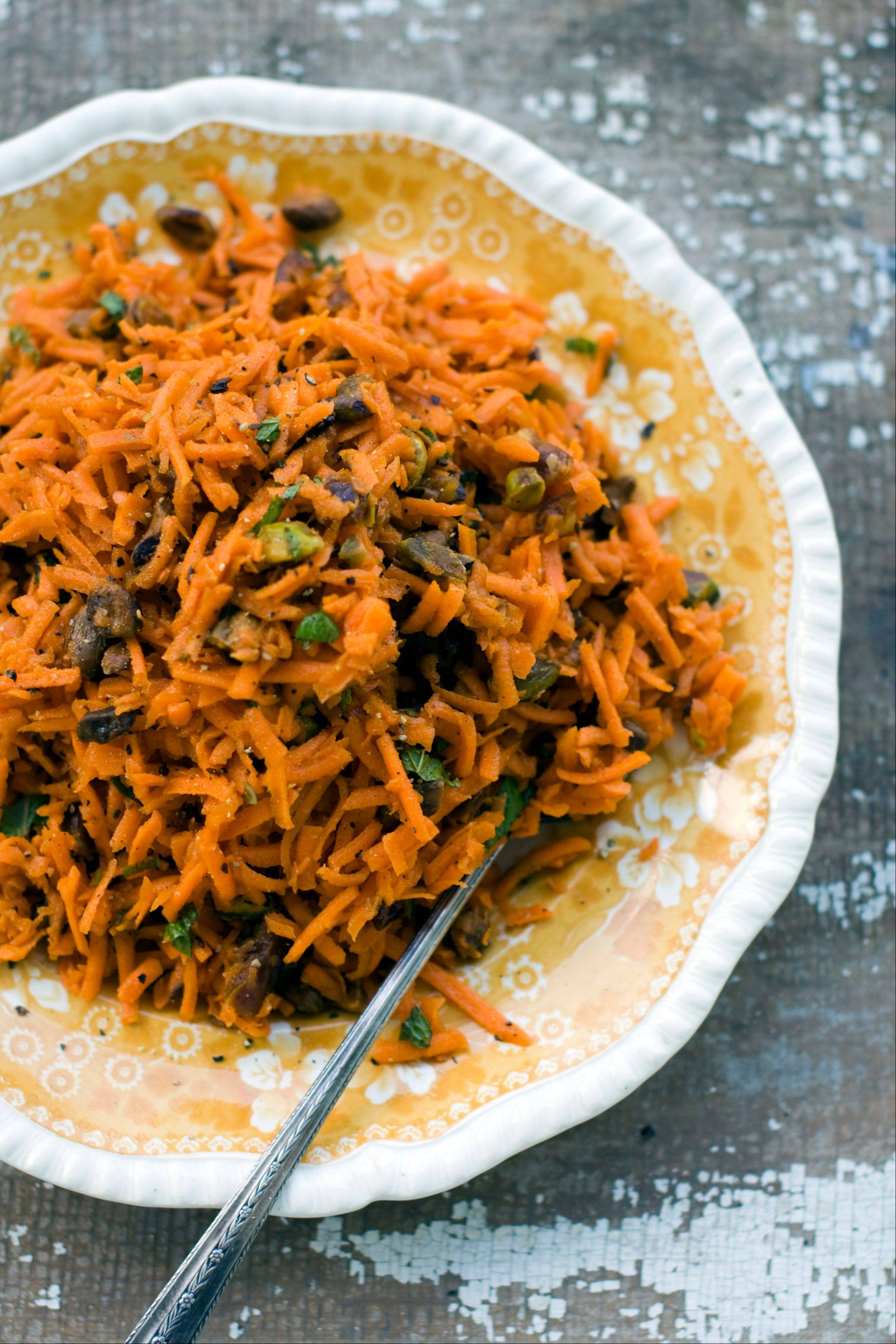 Grated Carrot Salad with Dates and Pistachios works for a Rosh Hashana meal or any fall feast.