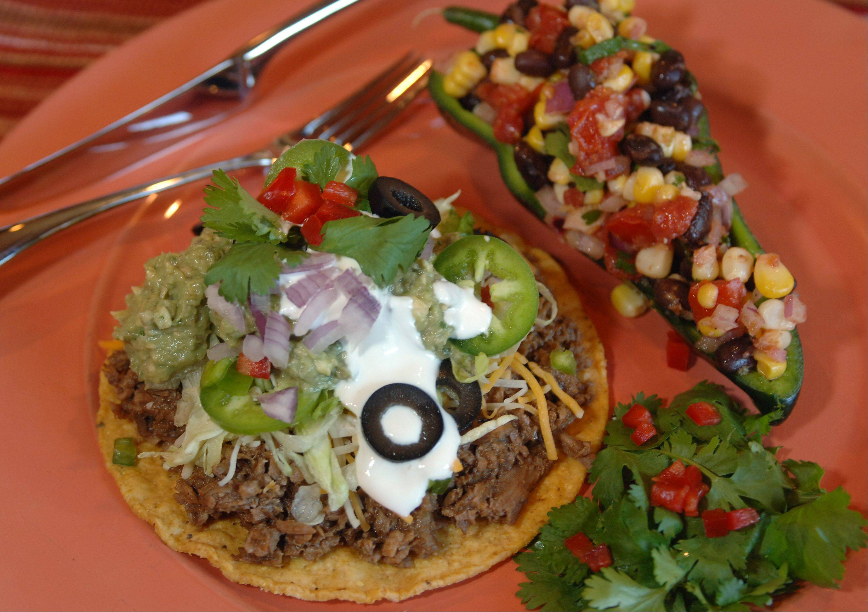 Shredded Beef Mole Tostadas with Plantain Guacamole and Fresh Corn, Black Bean Salad