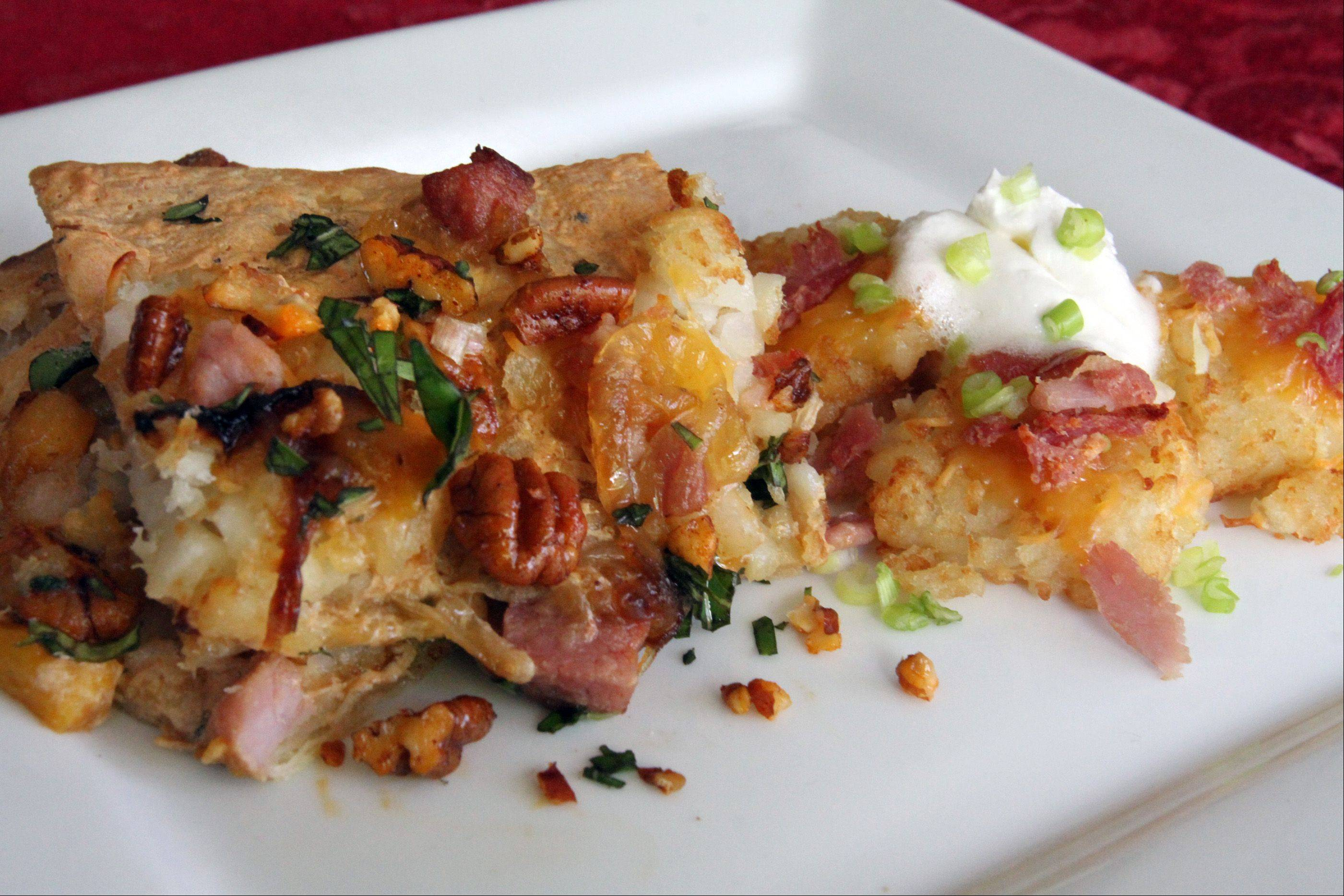 Jamie Andrade turned smoked ham, peaches, pecans and tater tots into a cheesy flatbread, potato cake combo.