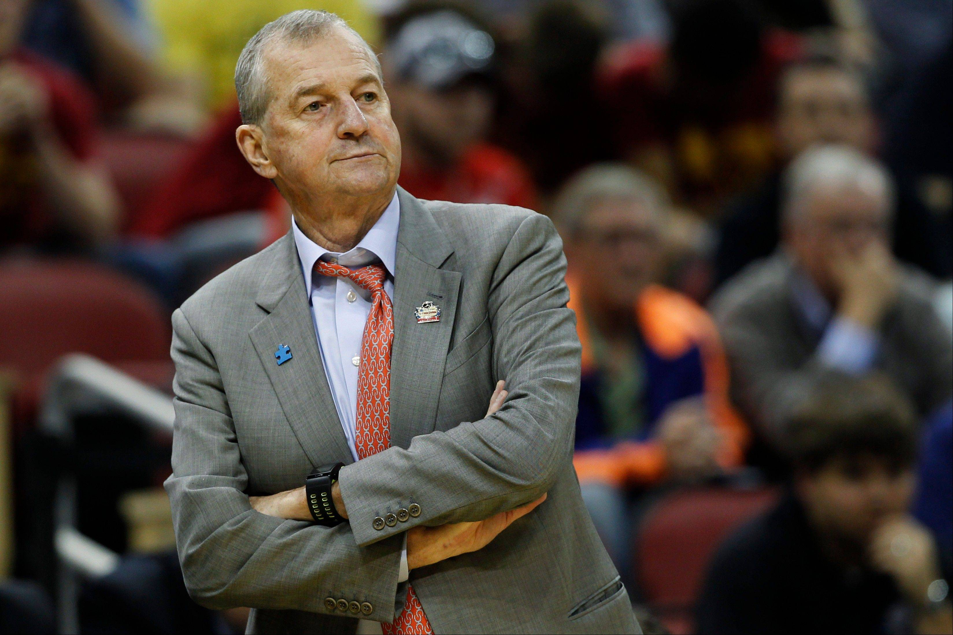 Connecticut head coach Jim Calhoun watches from the sideline during a second-round NCAA tournament game against Iowa State on March 15.