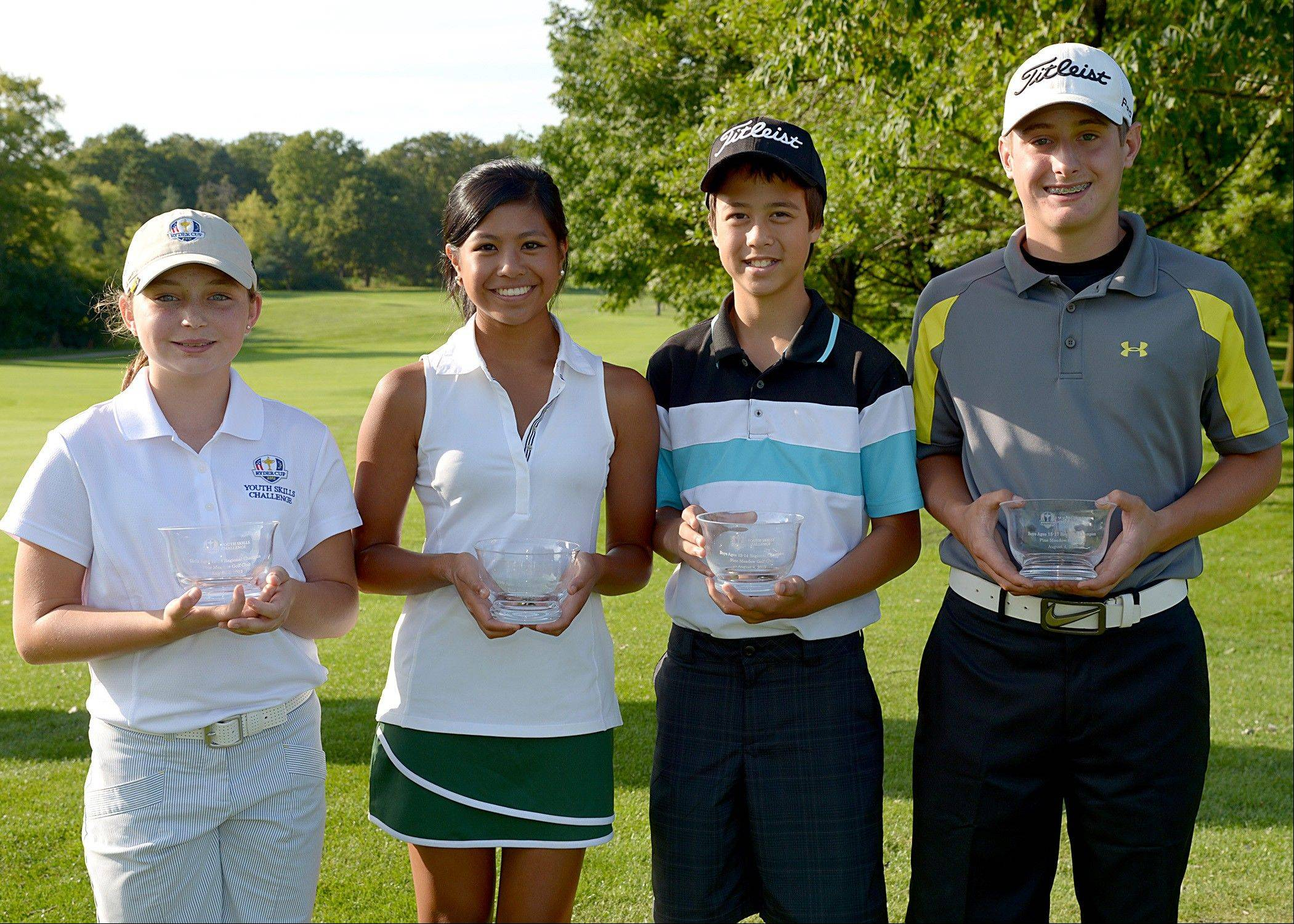 These junior golfers joined dozens of others between the ages 12-17 to compete last month in the 2012 Ryder Cup Youth Skills Challenge Regional at Pine Meadow Golf Club in Mundelein. The finals take place Friday at Medinah and Cog Hill, with an international team competition during Ryder Cup week at Olympia Fields.