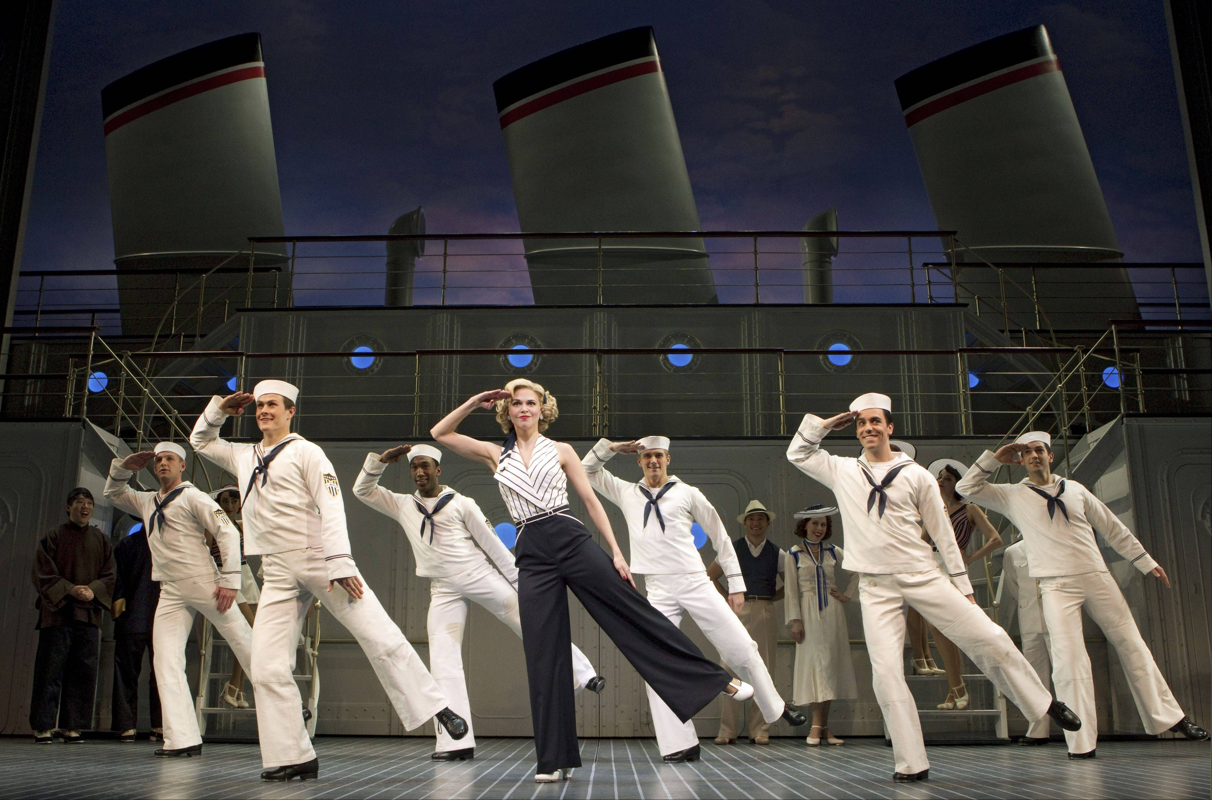 "The Roundabout Theatre Company's 2011 Tony Award-winning revival of Cole Porter's ""Anything Goes"" will play Chicago's Cadillac Palace Theatre from April 23 to May 5, 2013. Pictured here is the 2011 Broadway cast."