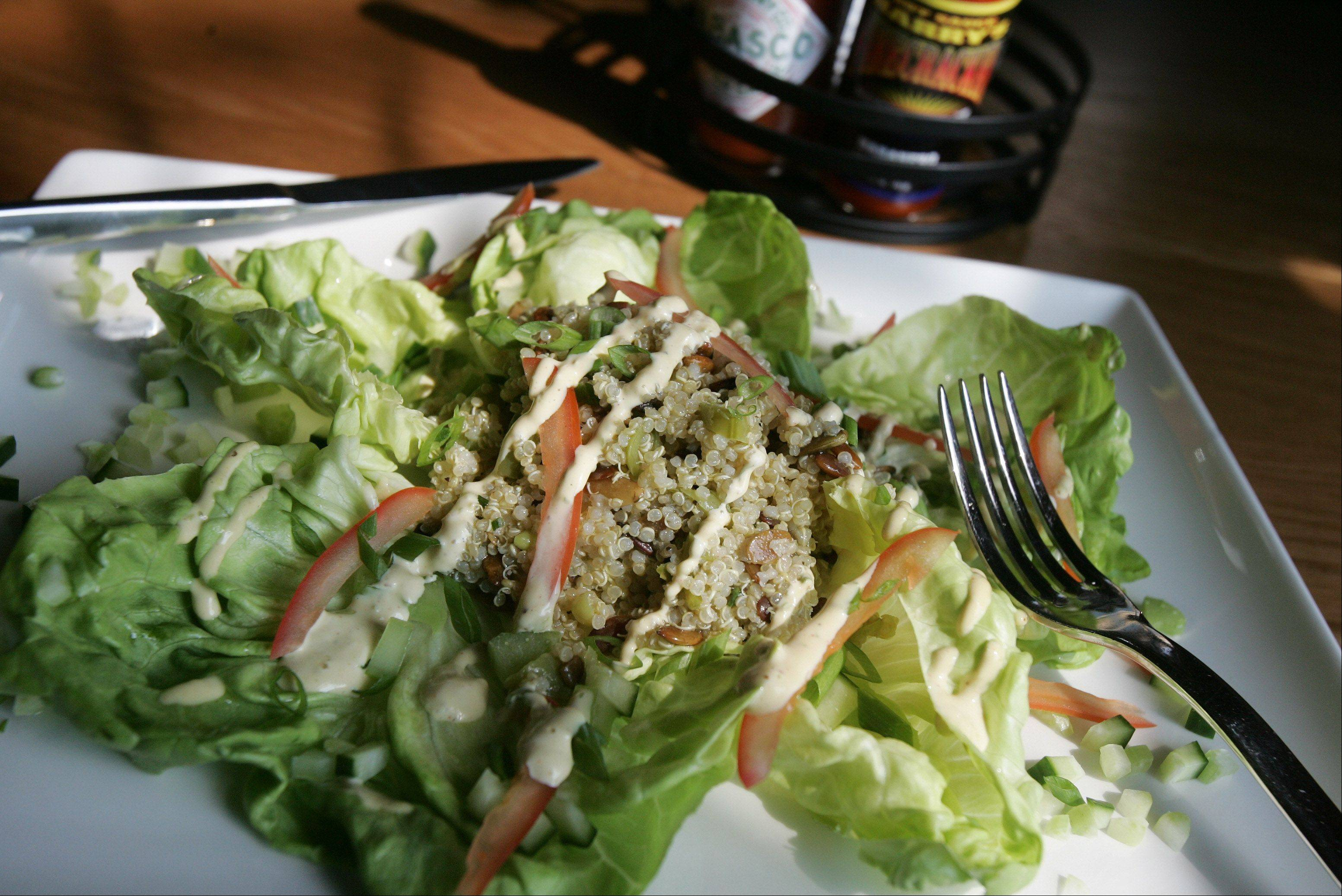 The quinoa salad at Chili U is spiked with a spicy Creole mustard aoli.