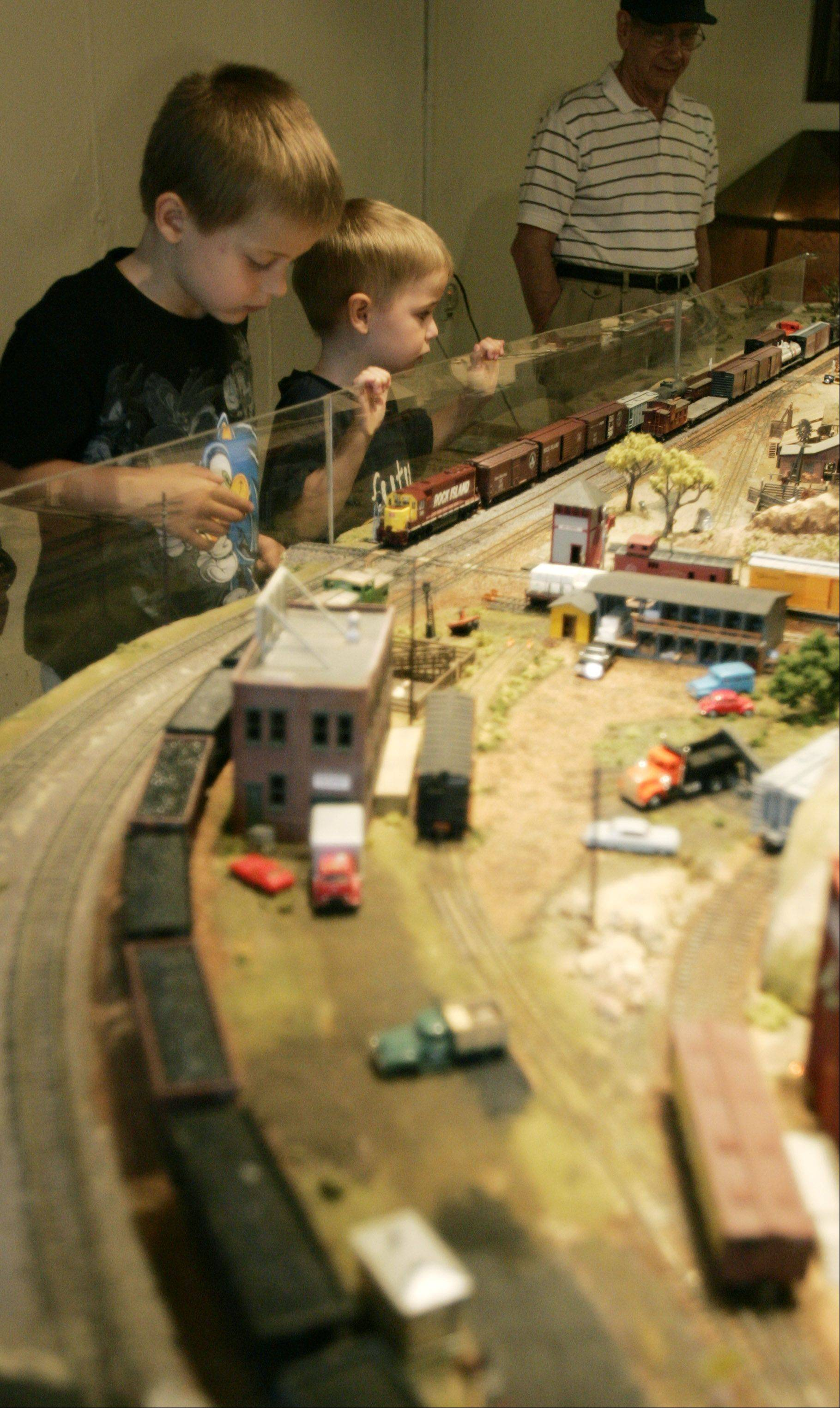 The young and young-at-heart can enjoy the HO-gauge model railroad display in the basement of the Netzley Yender House throughout Depot Days.