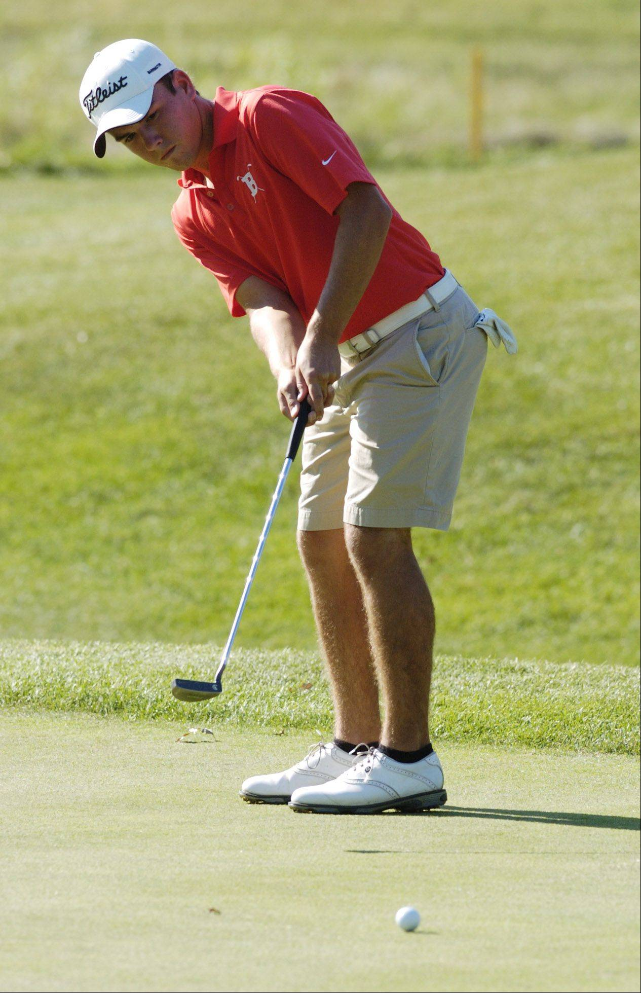 Barrington's Nick Schippel putts while competing against Prospect at Makray Memorial Golf Course in Barrington on Wednesday.