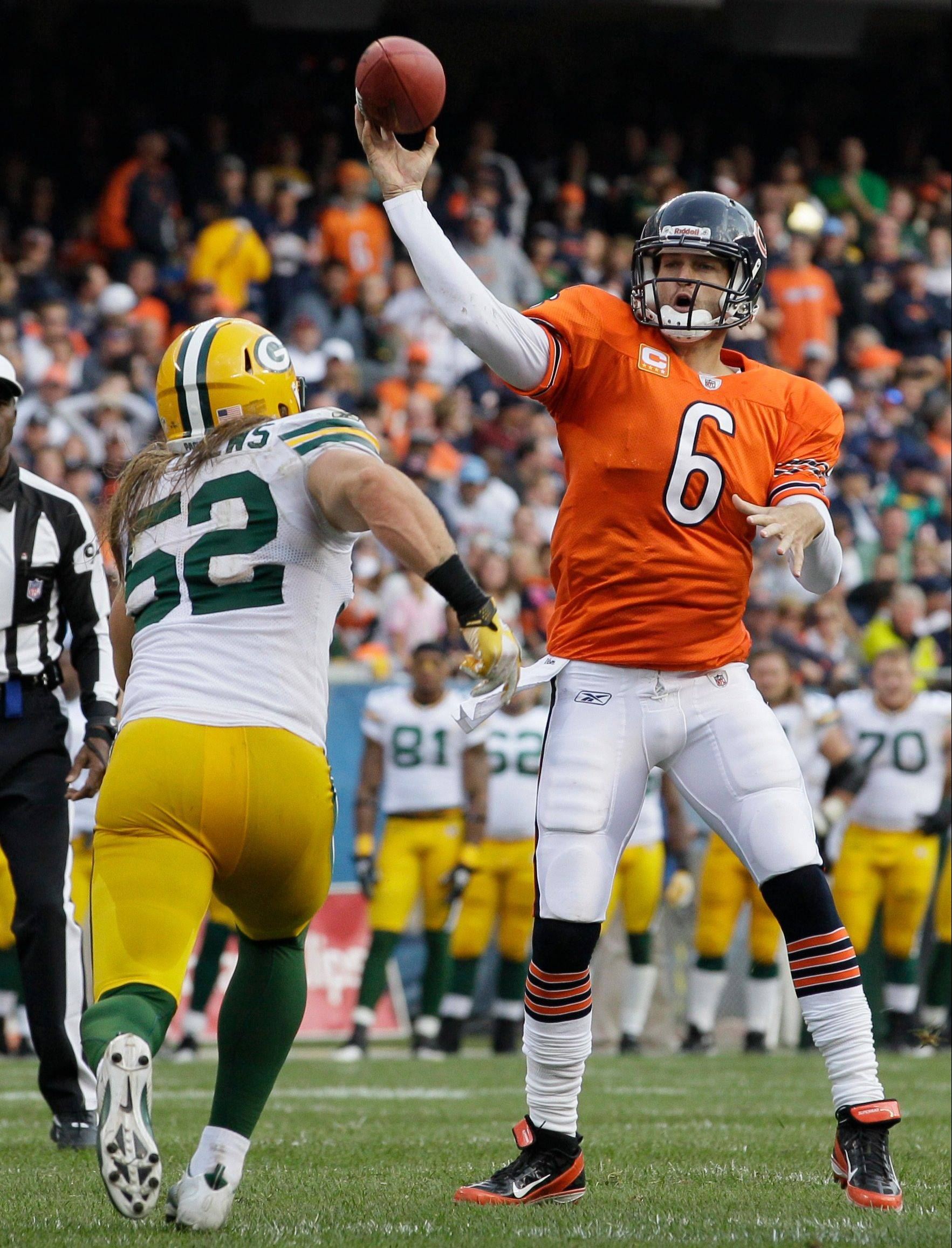 Linebacker Clay Matthews and his Packers teammates will see a new offensive look from quarterback Jay Cutler and the Bears Thursday in Green Bay, Wis.