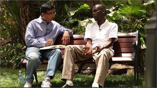 "Dinesh D'Souza interviews President Obama's half-brother George during a scene from Gerald Molen's documentary ""2016 Obama's America."""