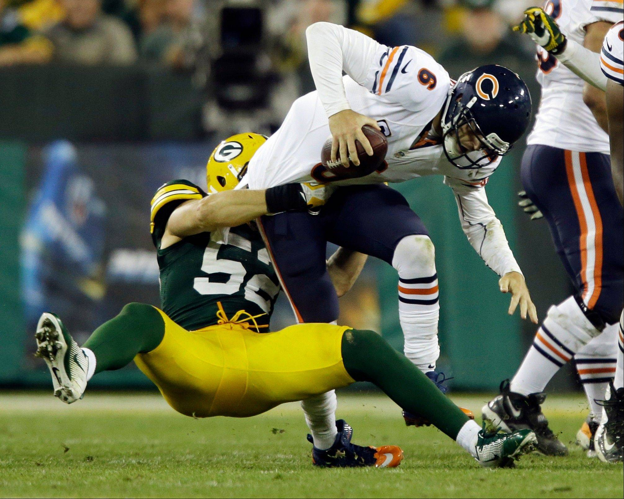 Green Bay Packers linebacker Clay Matthews sacks Bears quarterback Jay Cutler Thursday during the second half .
