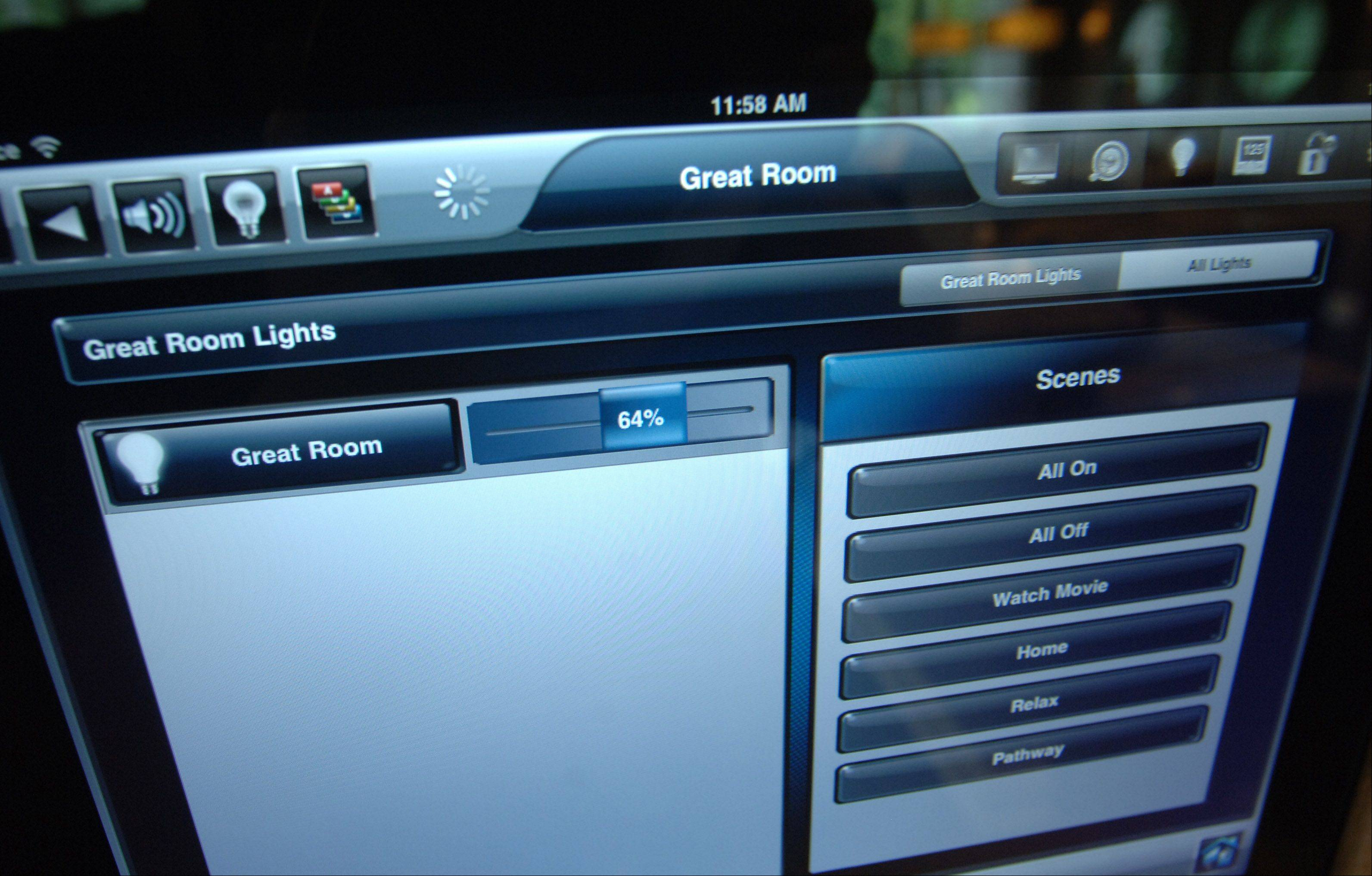 A wall-mounted iPad controls heating, lighting and audio systems in the Sonoma model at Thousand Oaks in Spring Grove.