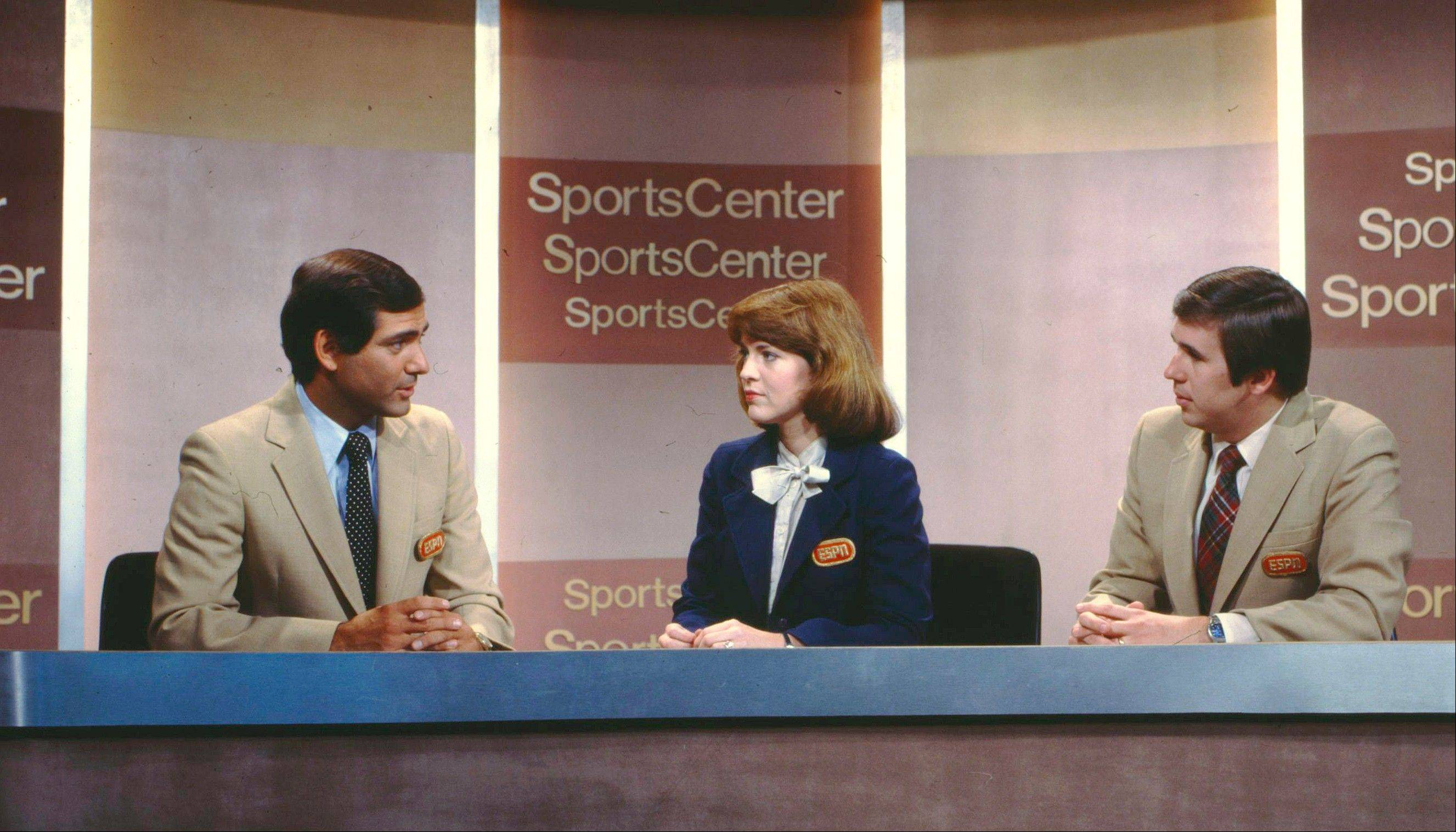 George Grande, left, Sharon Smith and Bob Ley were just a few of the first broadcasters on ESPN's SportsCenter back in 1981. On Thursday, ESPN will air its 50,000th SportsCenter, the network's flagship show of highlights, news and analysis that has had a major impact on the nation's sports culture.