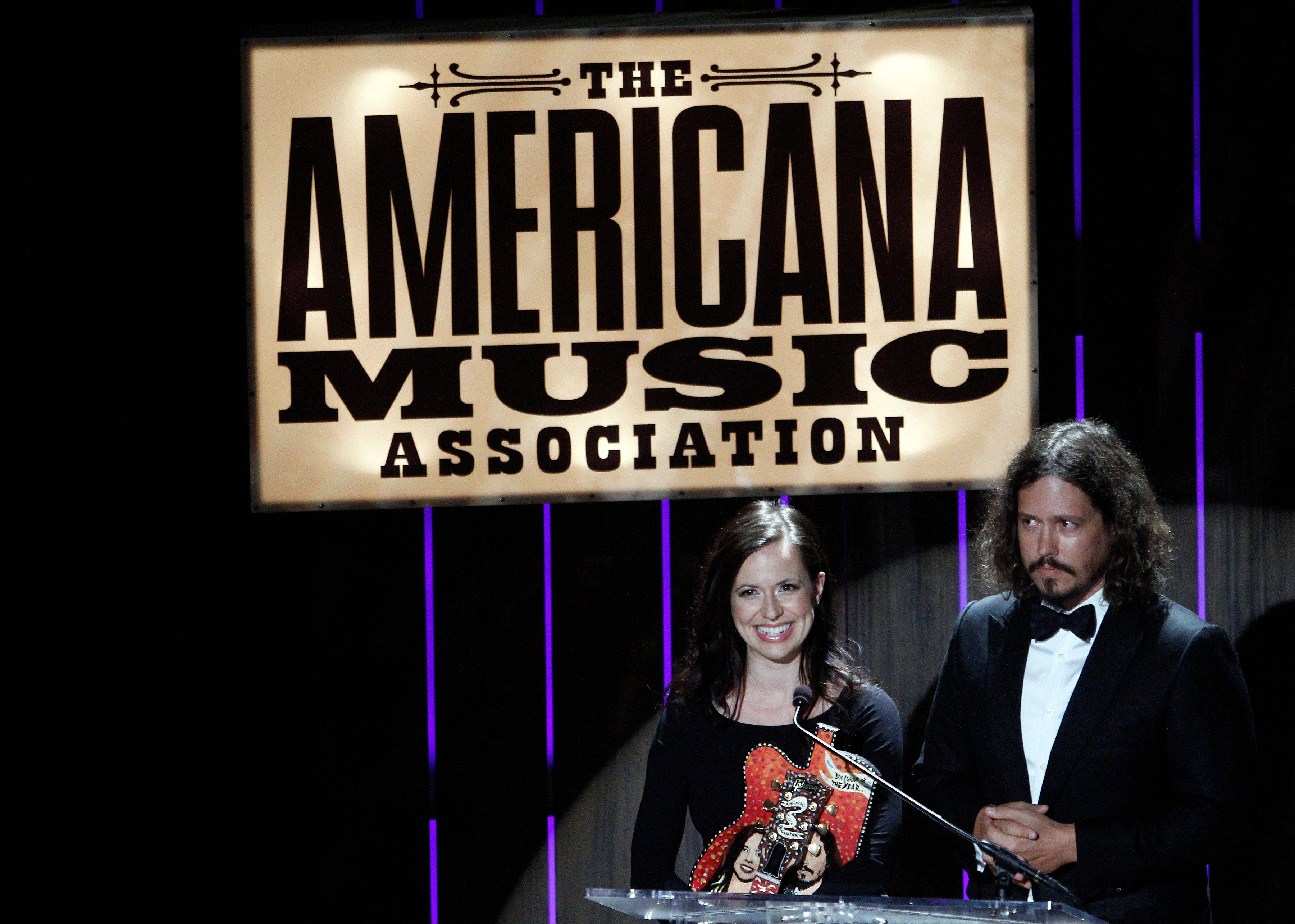 Joy Williams and John Paul White of The Civil Wars received the Duo/Group of the Year award at the 11th annual Americana Honors & Awards Wednesday in Nashville.