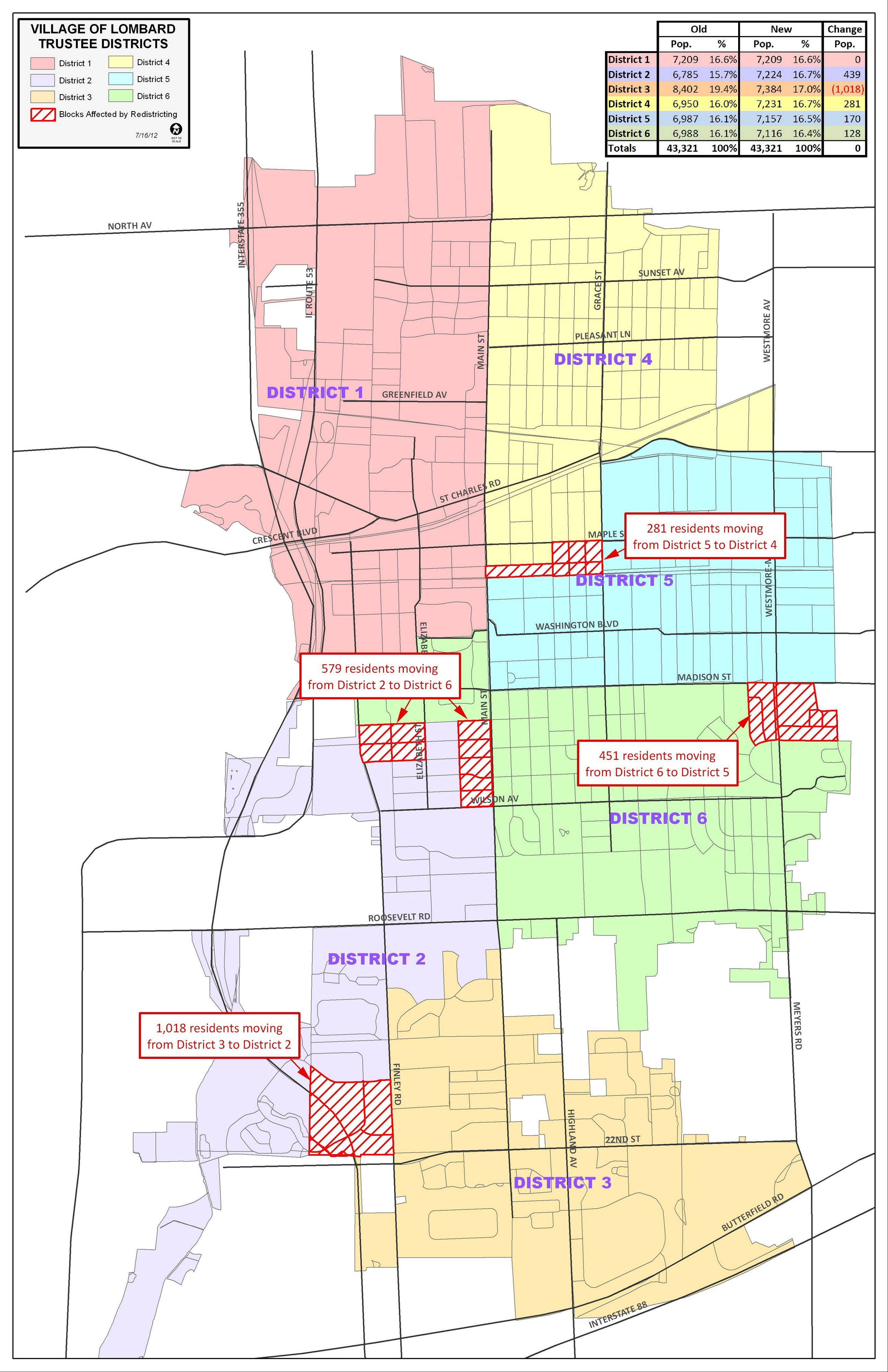 This is the district map approved by the Lombard village board earlier this summer. Trustees were required to create new voting districts that reflected the 2010 census, but some complained the map was designed to ensure trustees stayed in their existing districts.