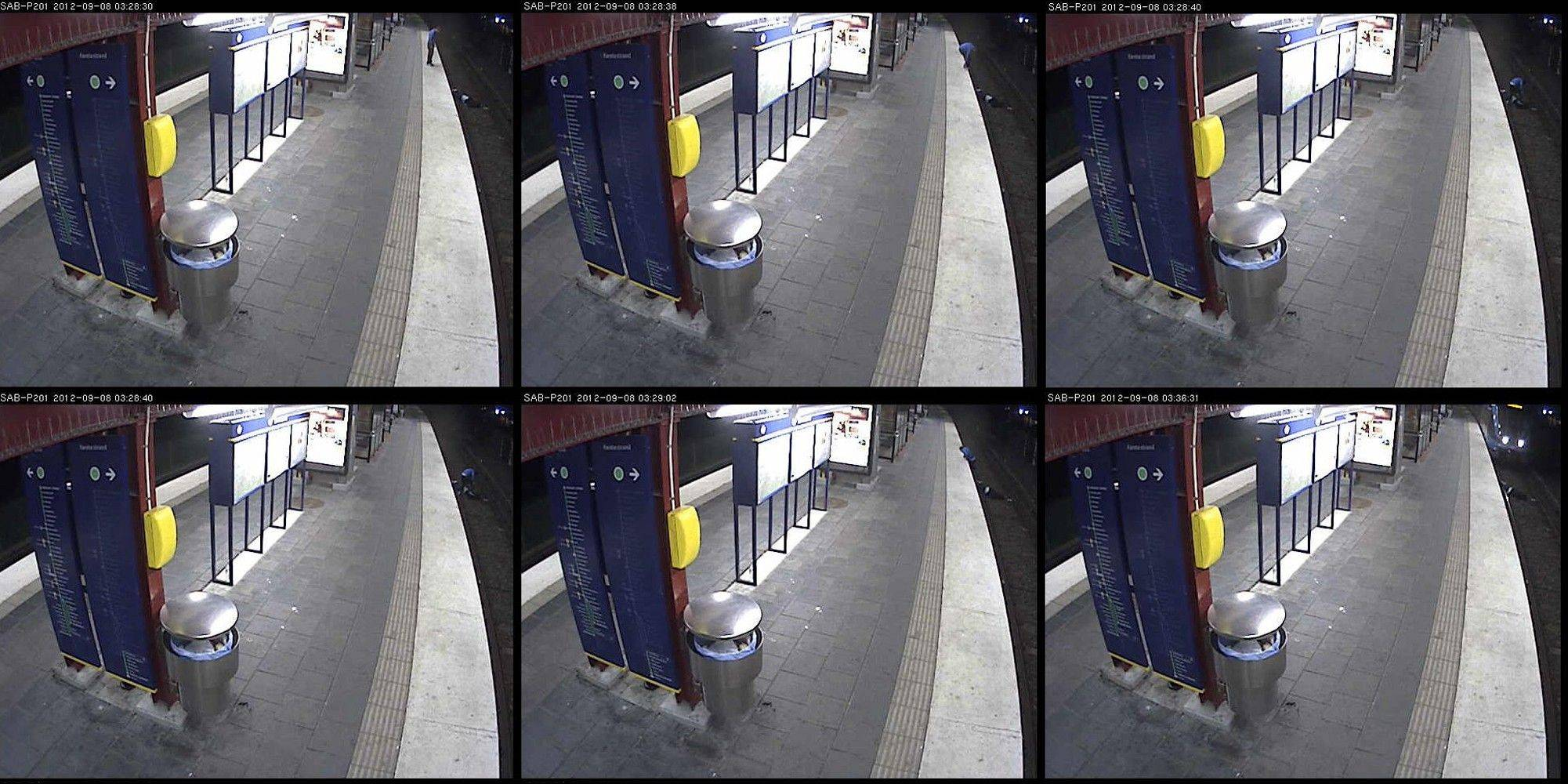 A composite image from September 8 CCTV footage made available by Swedish Police on Wednesday, Sept. 12, 2012, shows the victim, returning home after a drunken night on the town, falling down on the tracks at Sandsborg metro station south of Stockholm. He was then robbed and left to be run over by an oncoming train. The man survived, sustaining serious injuries.