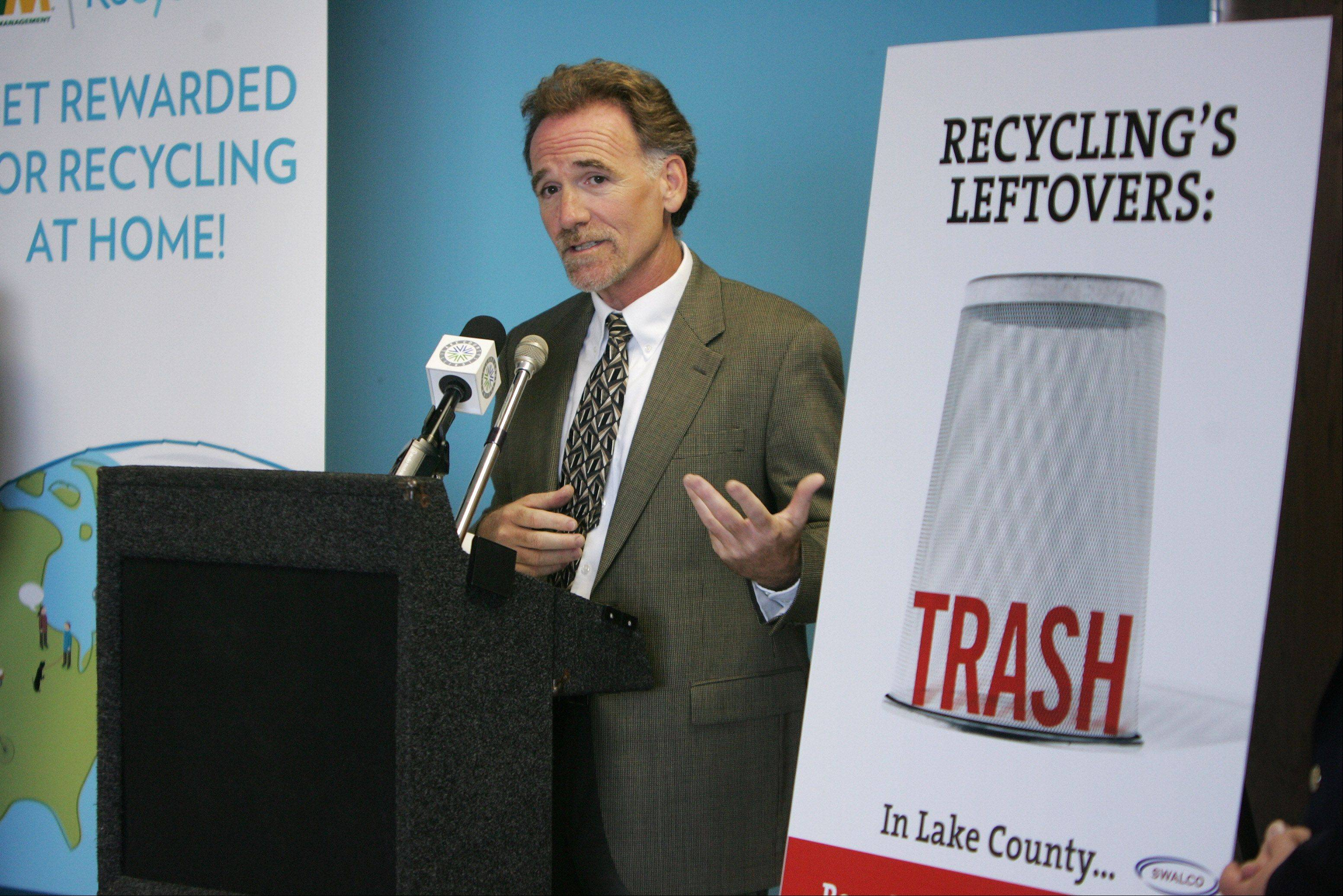"Walter Willis, executive director of the Solid Waste Agency of Lake County, discusses the new ""Recycle First. Trash Last"" education program unveiled Wednesday."