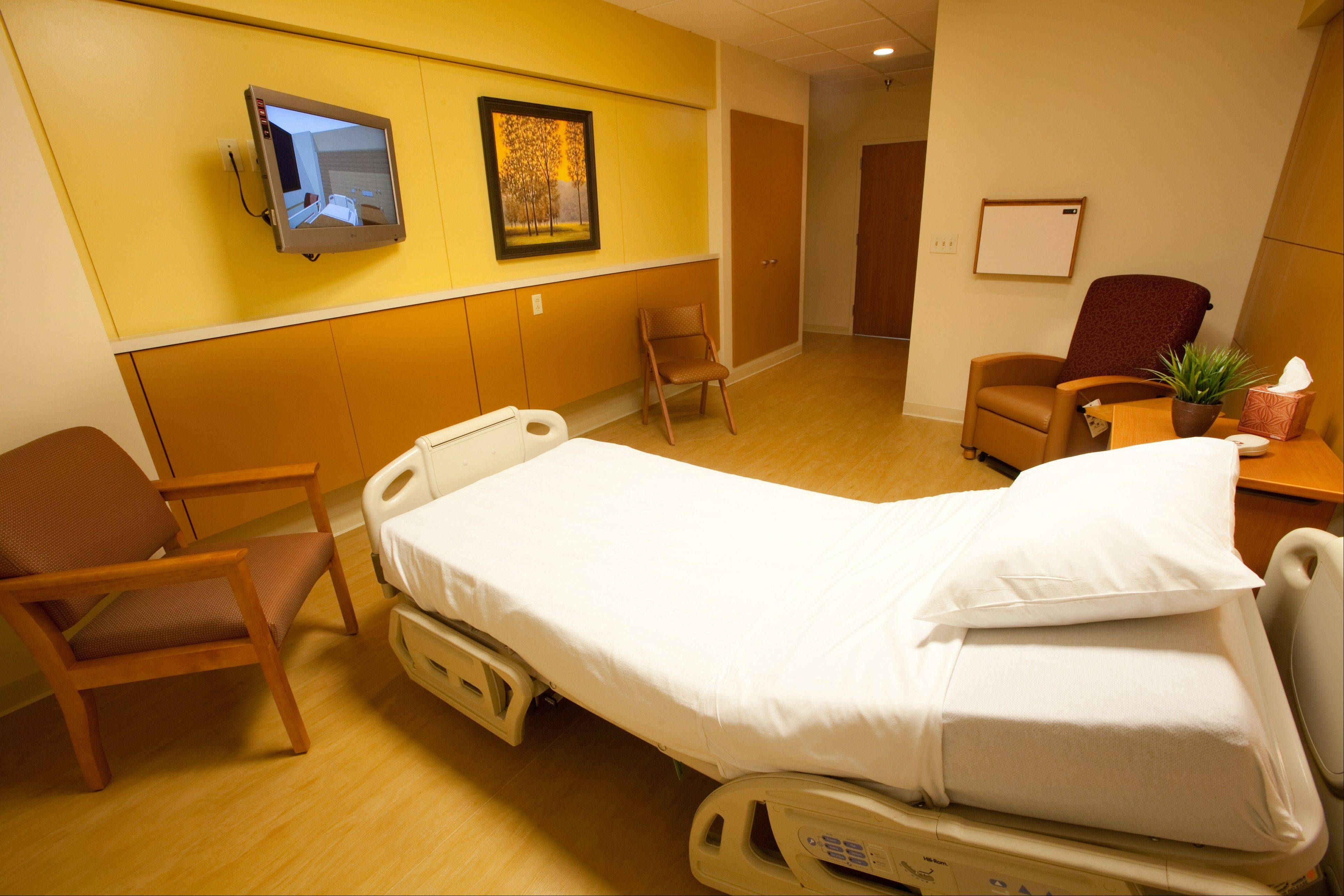Renovated patient rooms at Provena Mercy Medical Center in Aurora are 218-square-foot spaces featuring flat screen TVs, private bathrooms and single-patient occupancy.