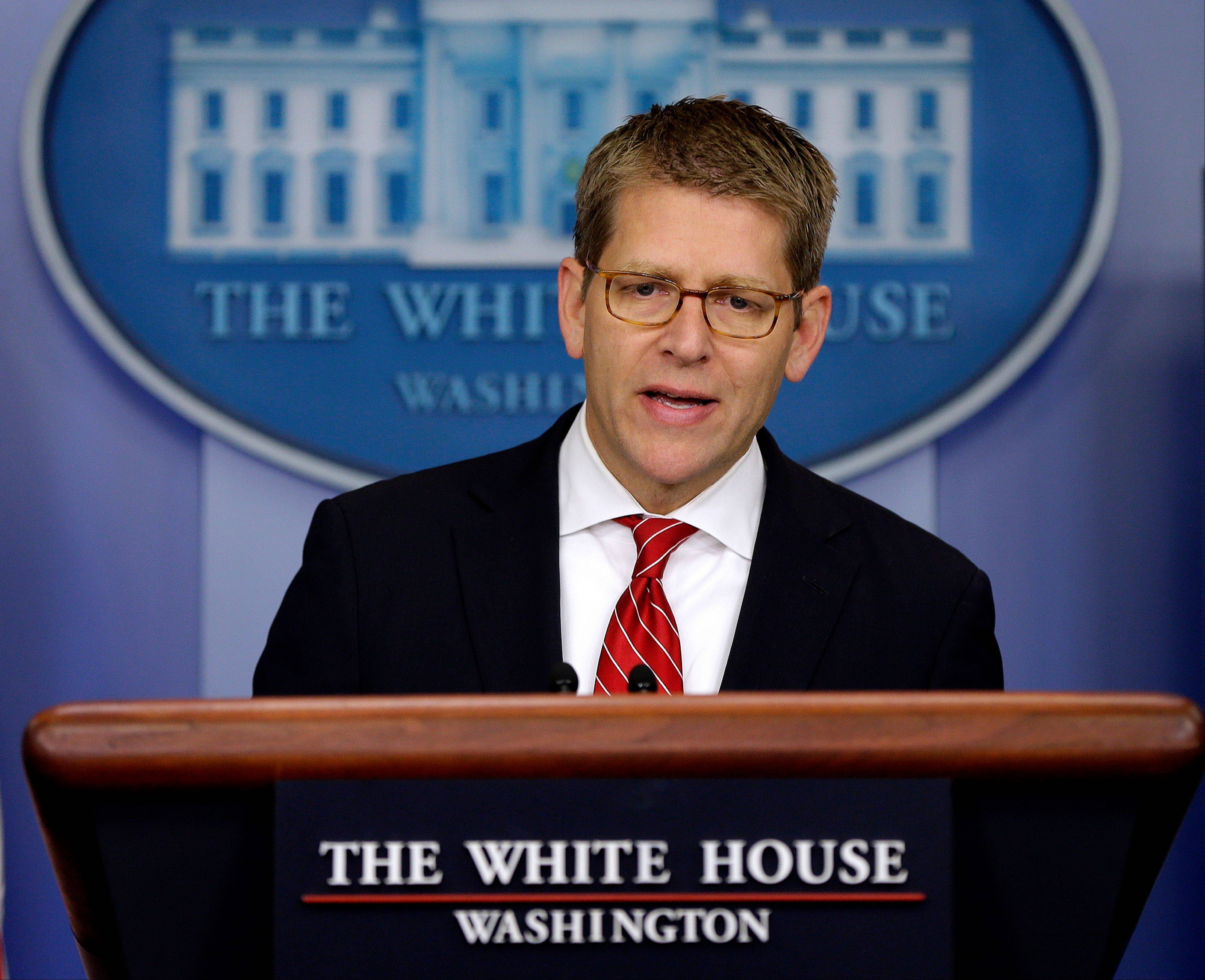 White House Press Secretary Jay Carney speaks Friday during his daily news briefing at the White House in Washington.