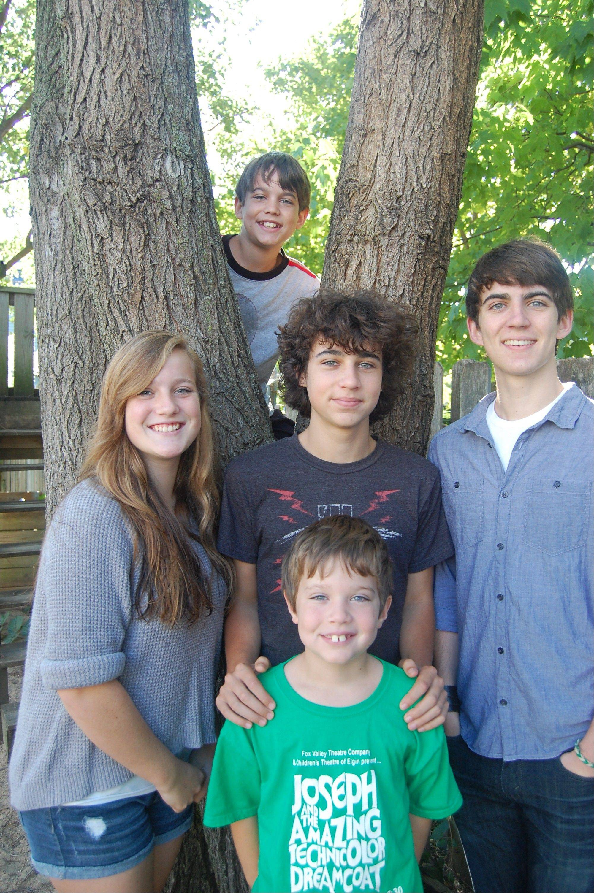"Five siblings in the Groth family of St. Charles are performing in ""Joseph and the Amazing Technicolor Dreamcoat,"" staged by Fox Valley Theatre Company. From left are Rachel, Elijah, Ben, Jacob and (front) Judah Groth."