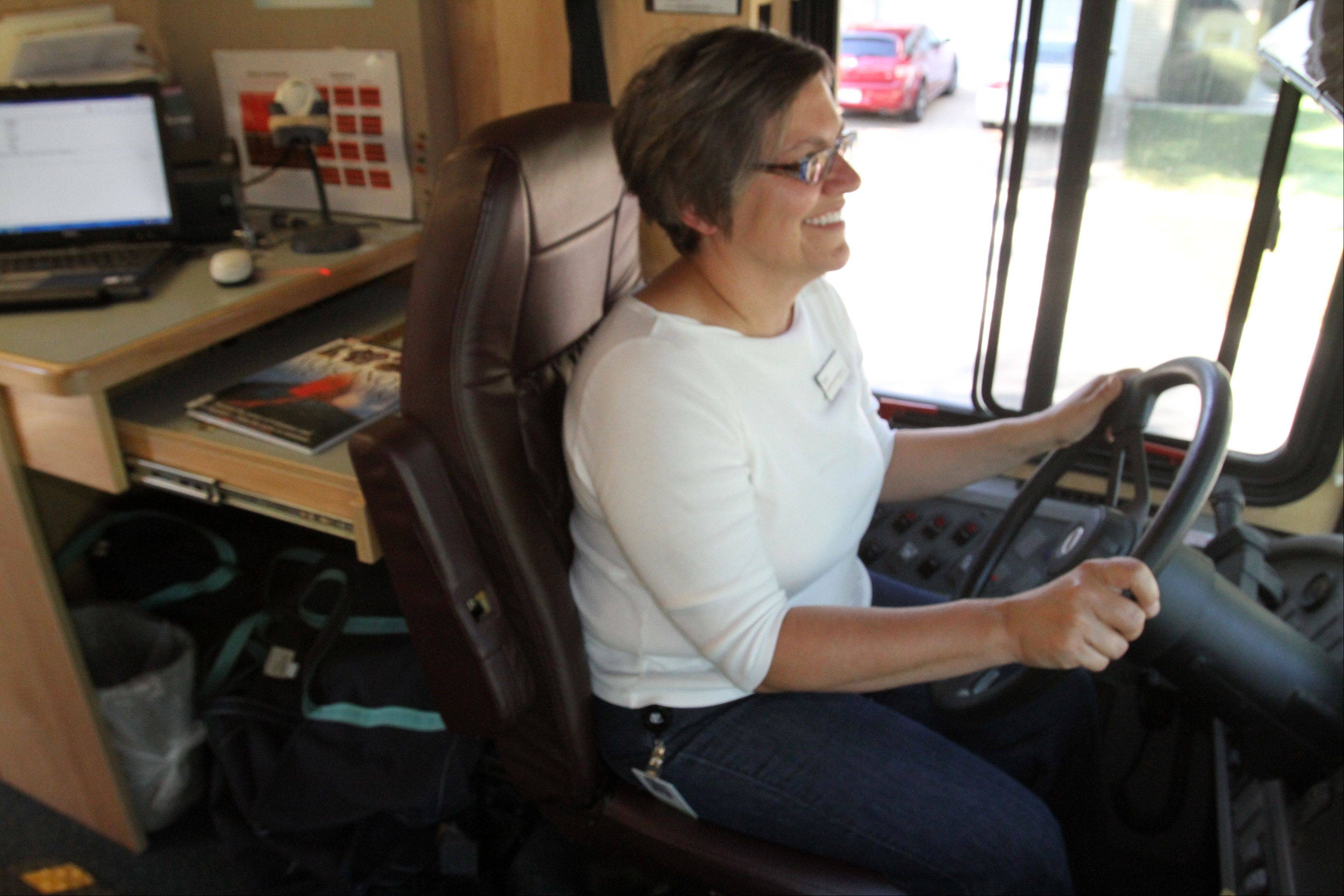 Teri Scallon is one of the drivers of the Arlington Heights Memorial Library bookmobile.